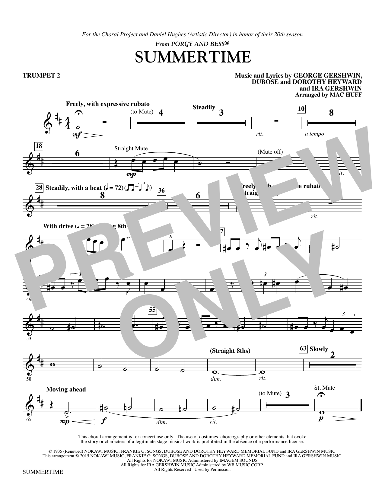 Summertime - Trumpet 2 (Choir Instrumental Pak)