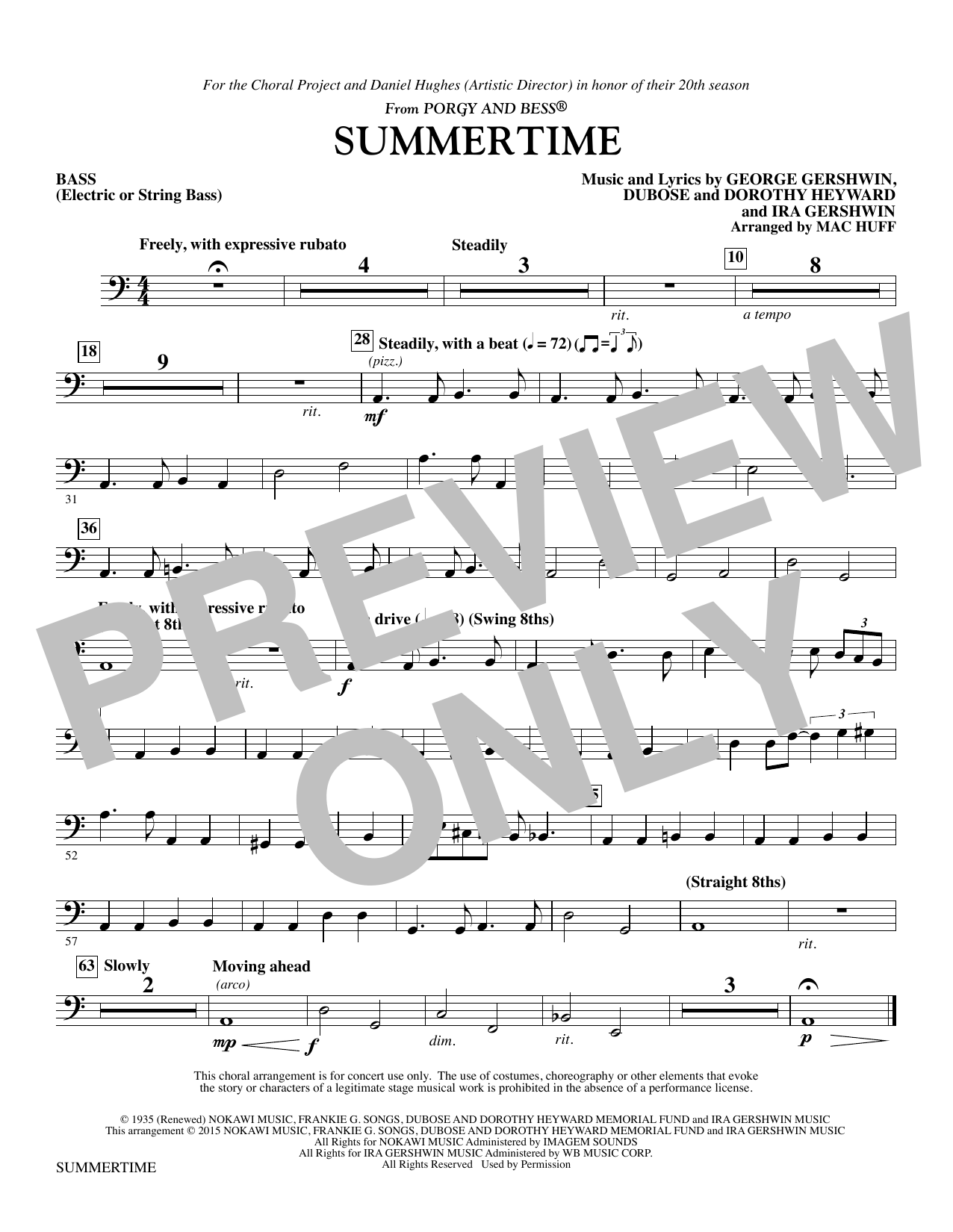 Summertime - String Bass/Electric Bass (Choir Instrumental Pak)