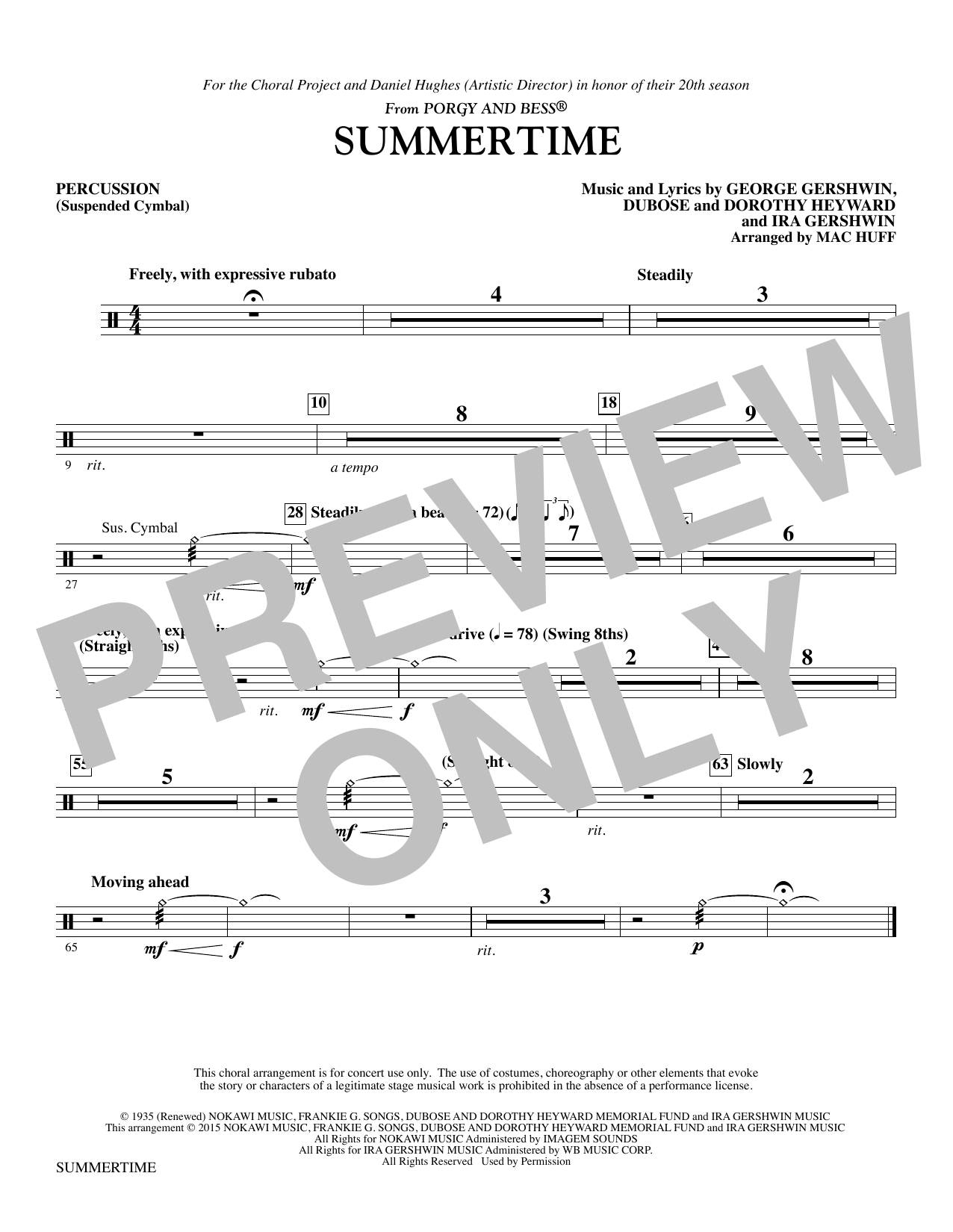 Summertime - Suspended Cymbal (Choir Instrumental Pak)