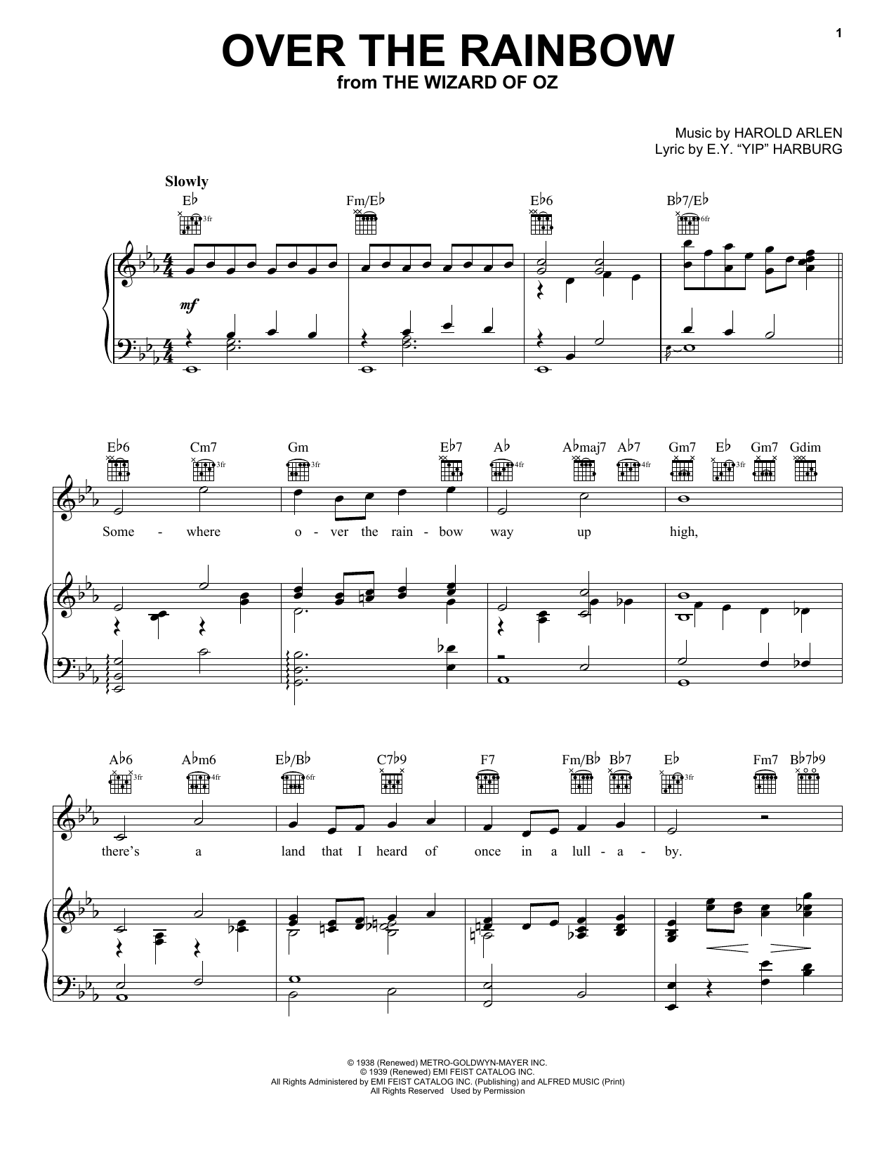 Over The Rainbow Piano Sheet Music By Harry Nilsson Piano Voice