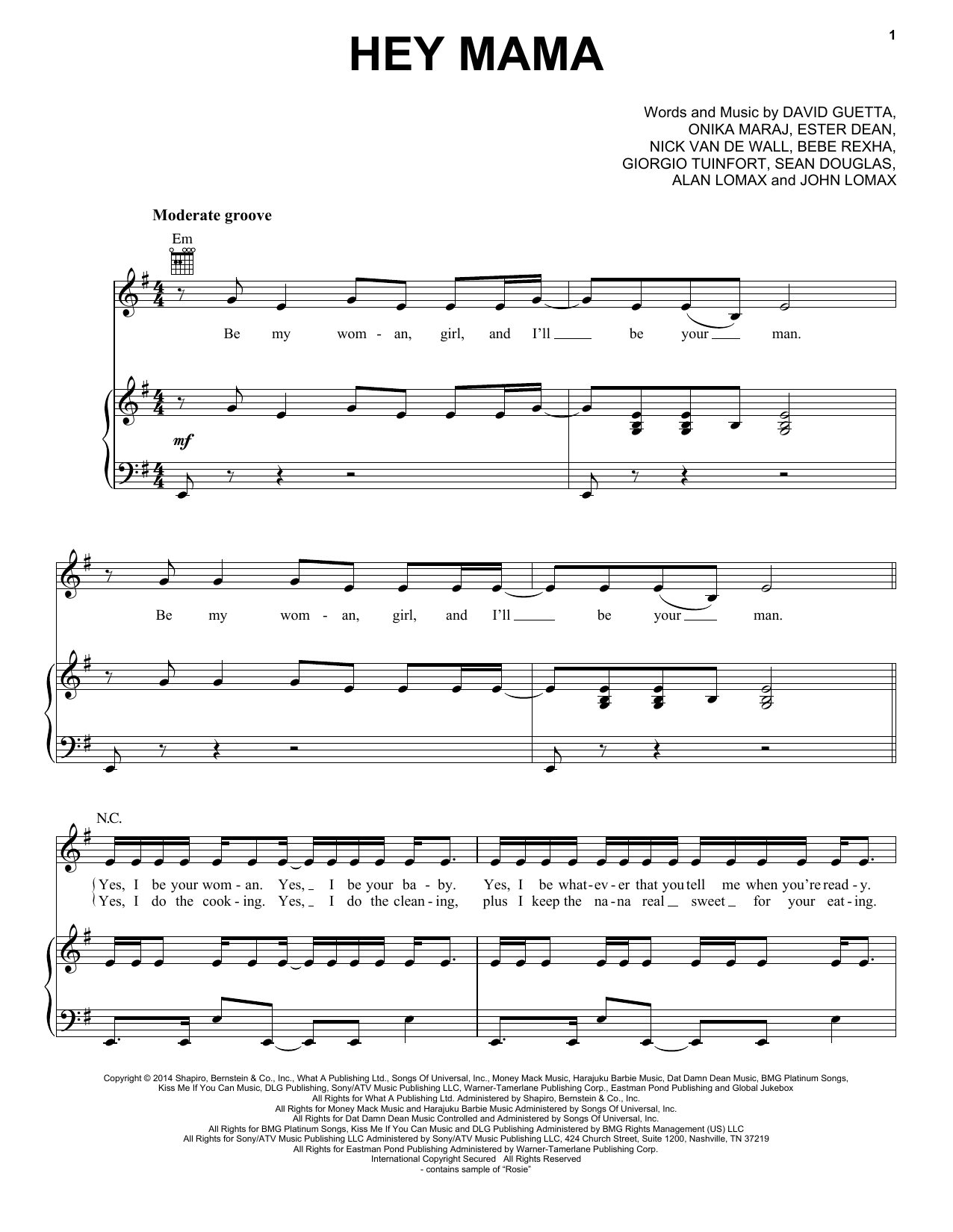 Hey Mama (feat. Nicki Minaj & Afrojack) Sheet Music