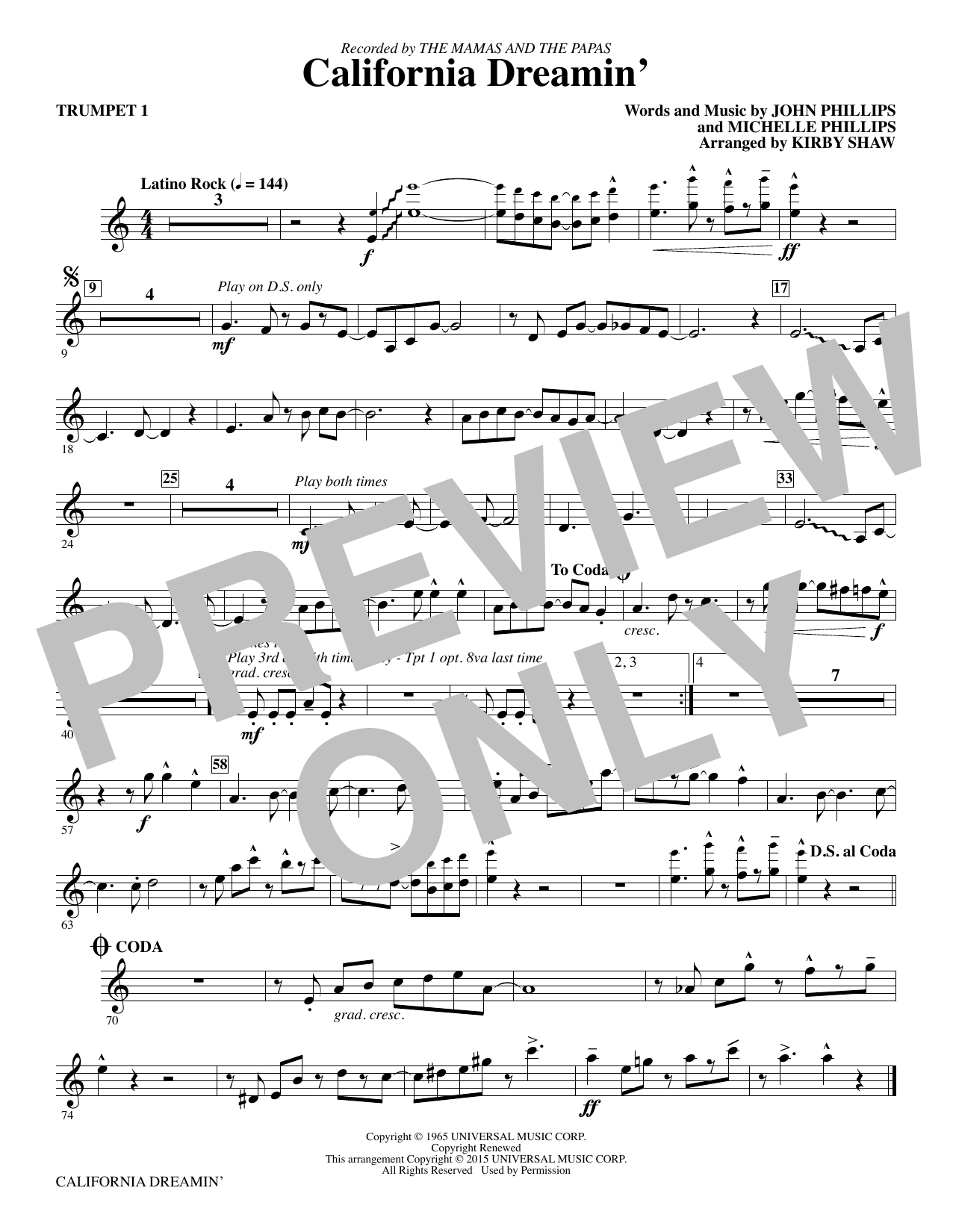 California Dreamin' (complete set of parts) sheet music for orchestra/band by Kirby Shaw, Michelle Phillips and The Mamas & The Papas. Score Image Preview.