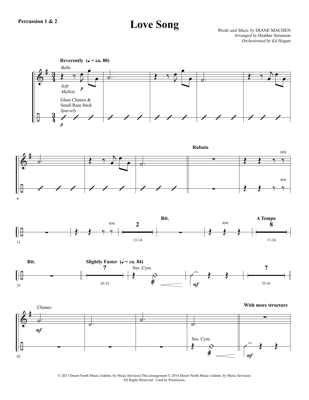 Love Song - Percussion 1 & 2 Sheet Music