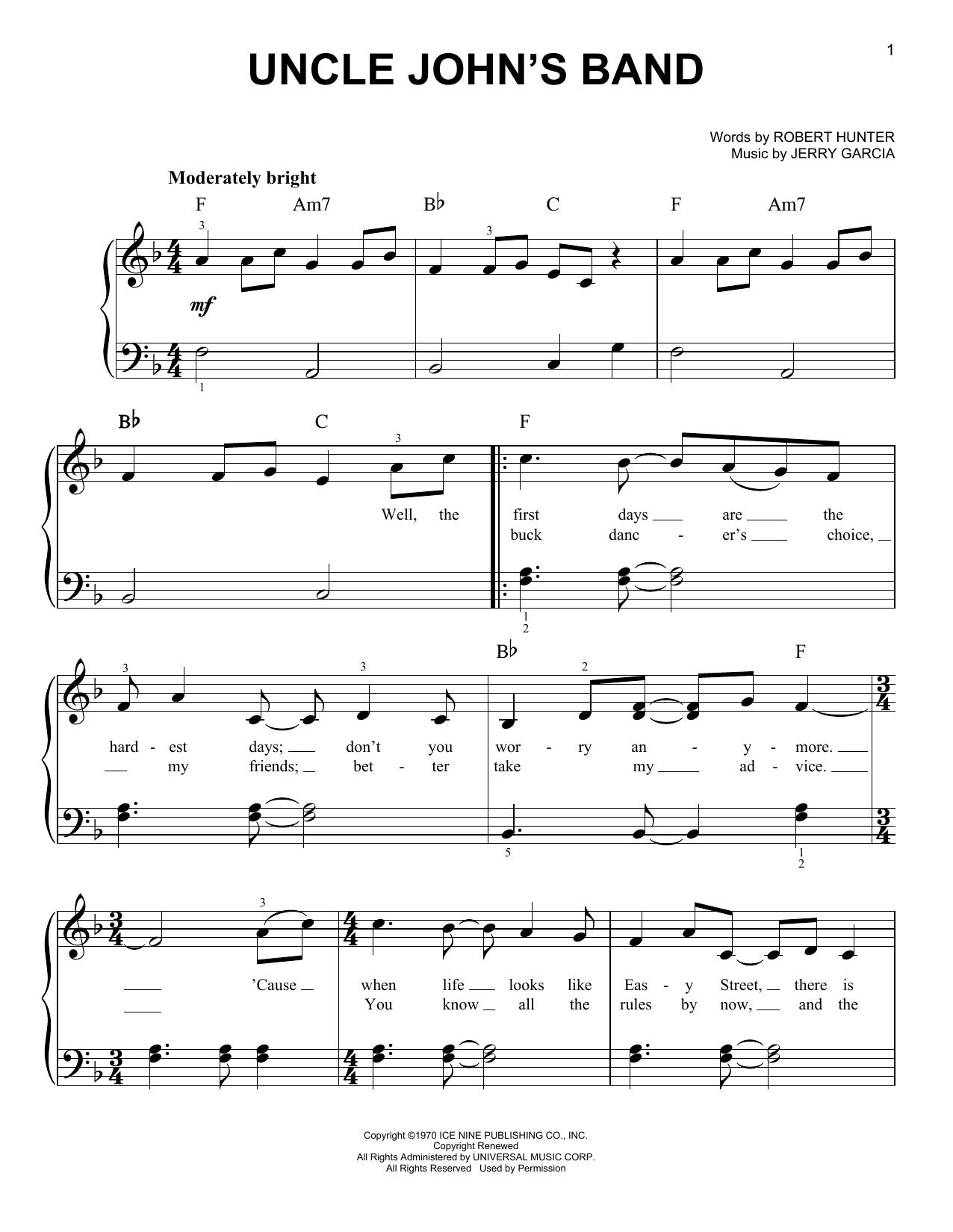 Uncle John's Band (Easy Piano)