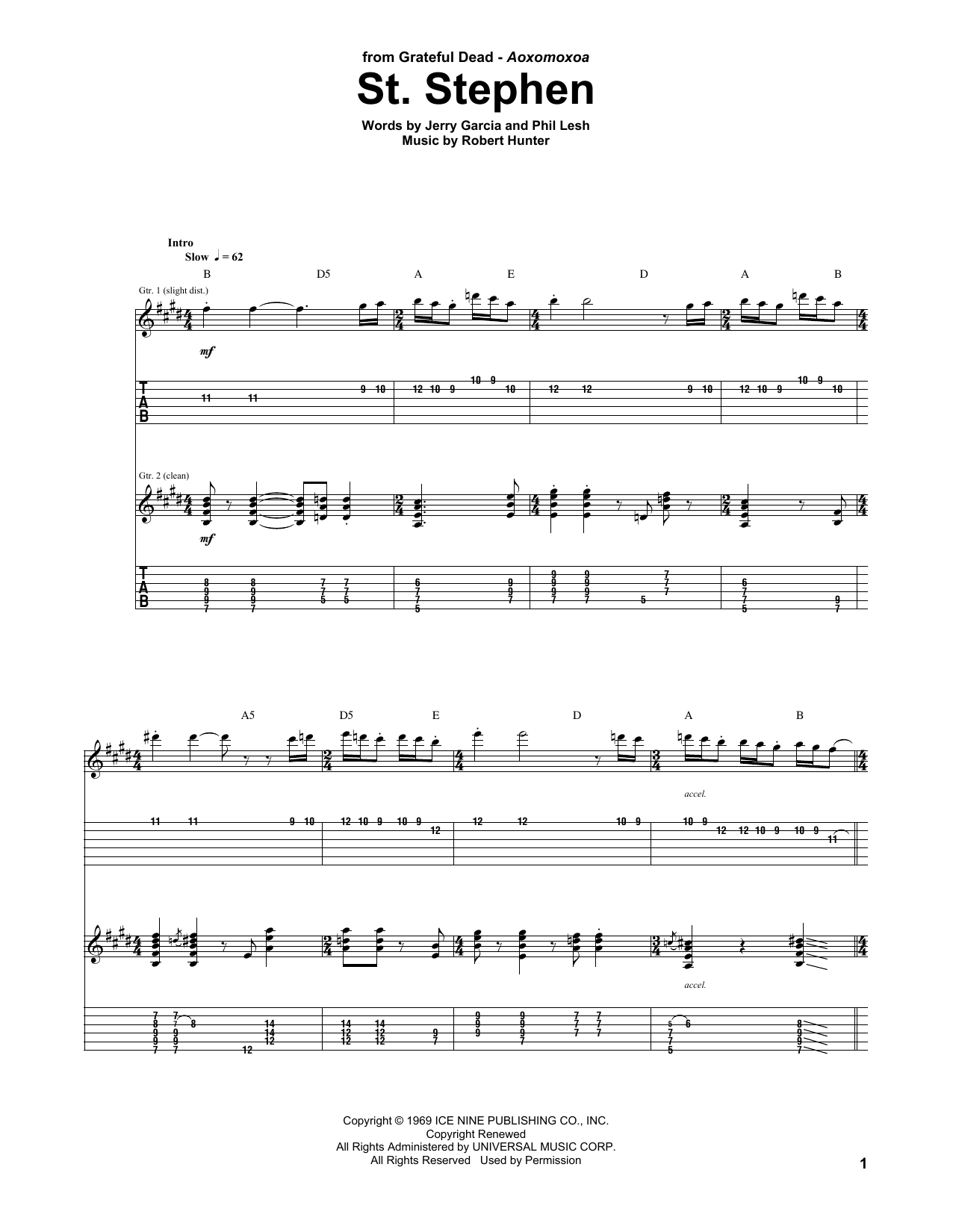 St. Stephen by Grateful Dead - Guitar Tab - Guitar Instructor