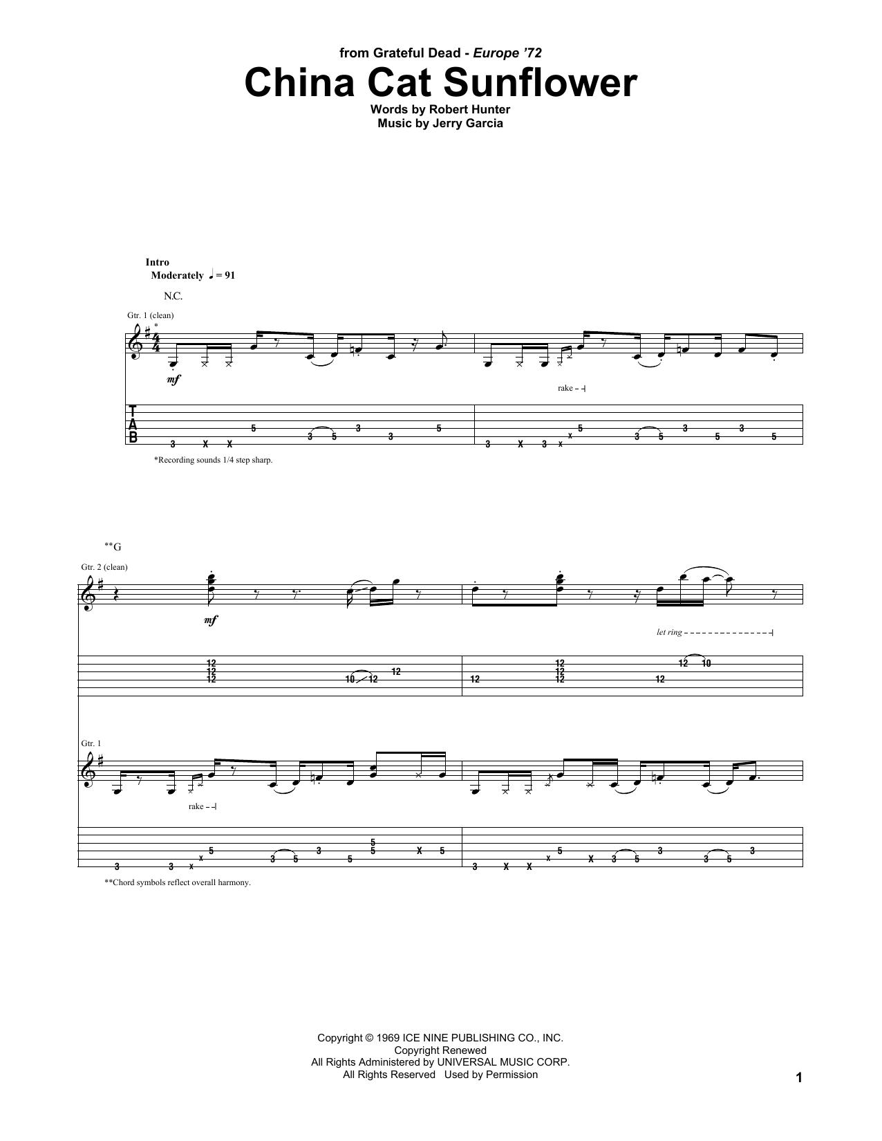 China Cat Sunflower Sheet Music