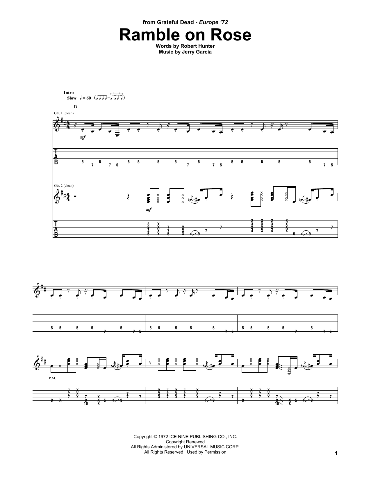 Ramble On Rose (Guitar Tab)