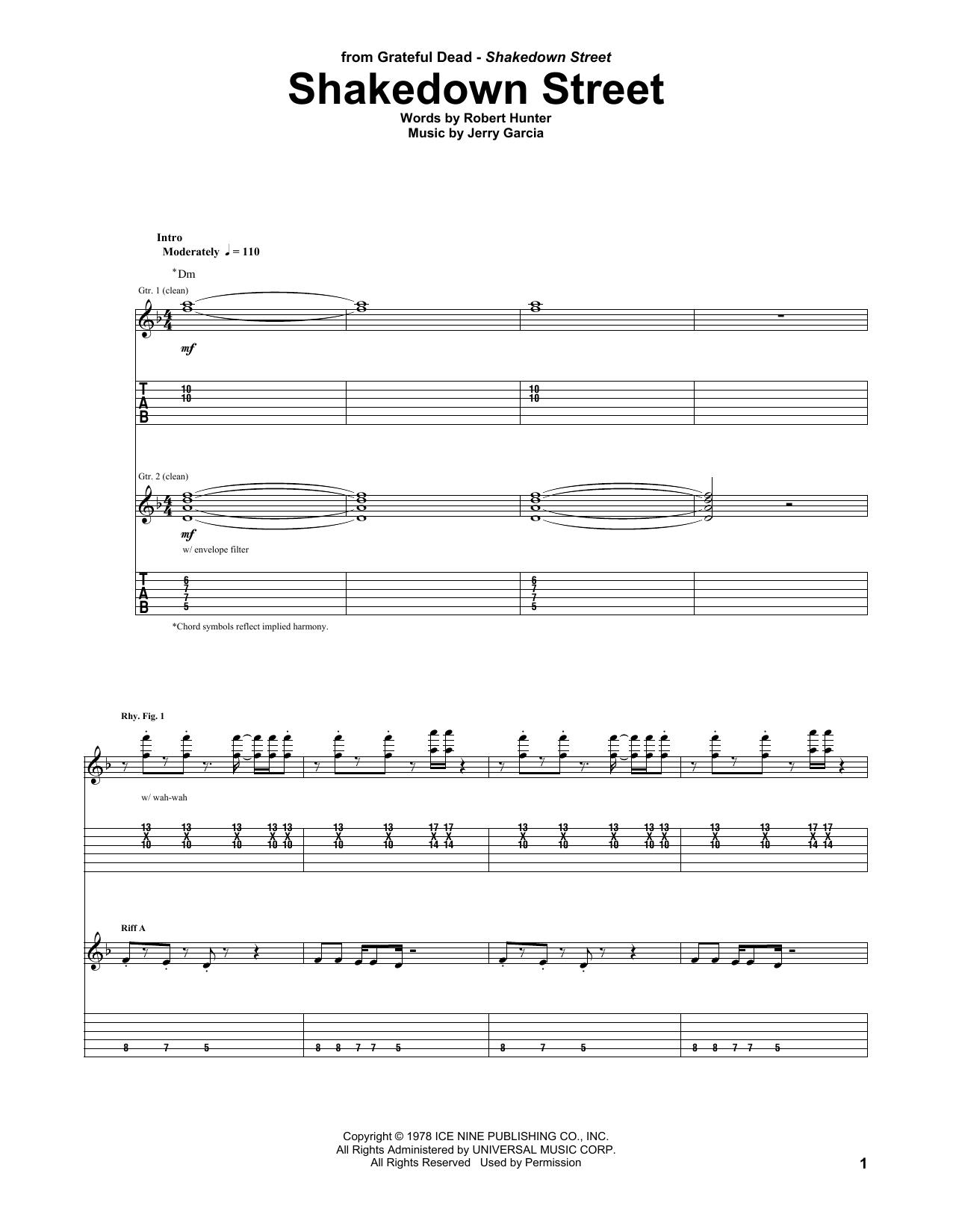 Shakedown street sheet music direct sheet preview hexwebz Choice Image