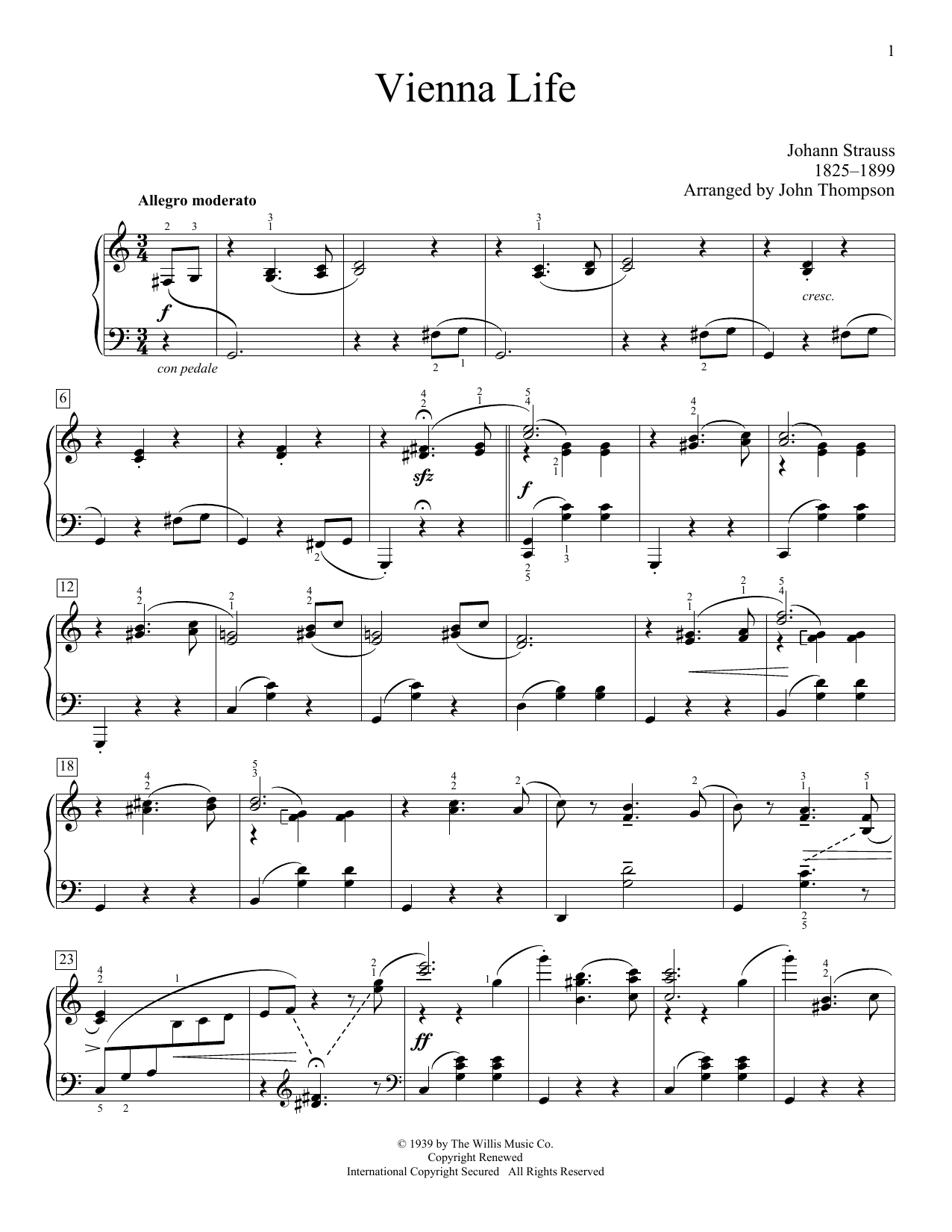 Vienna Life (arr. John Thompson) Sheet Music