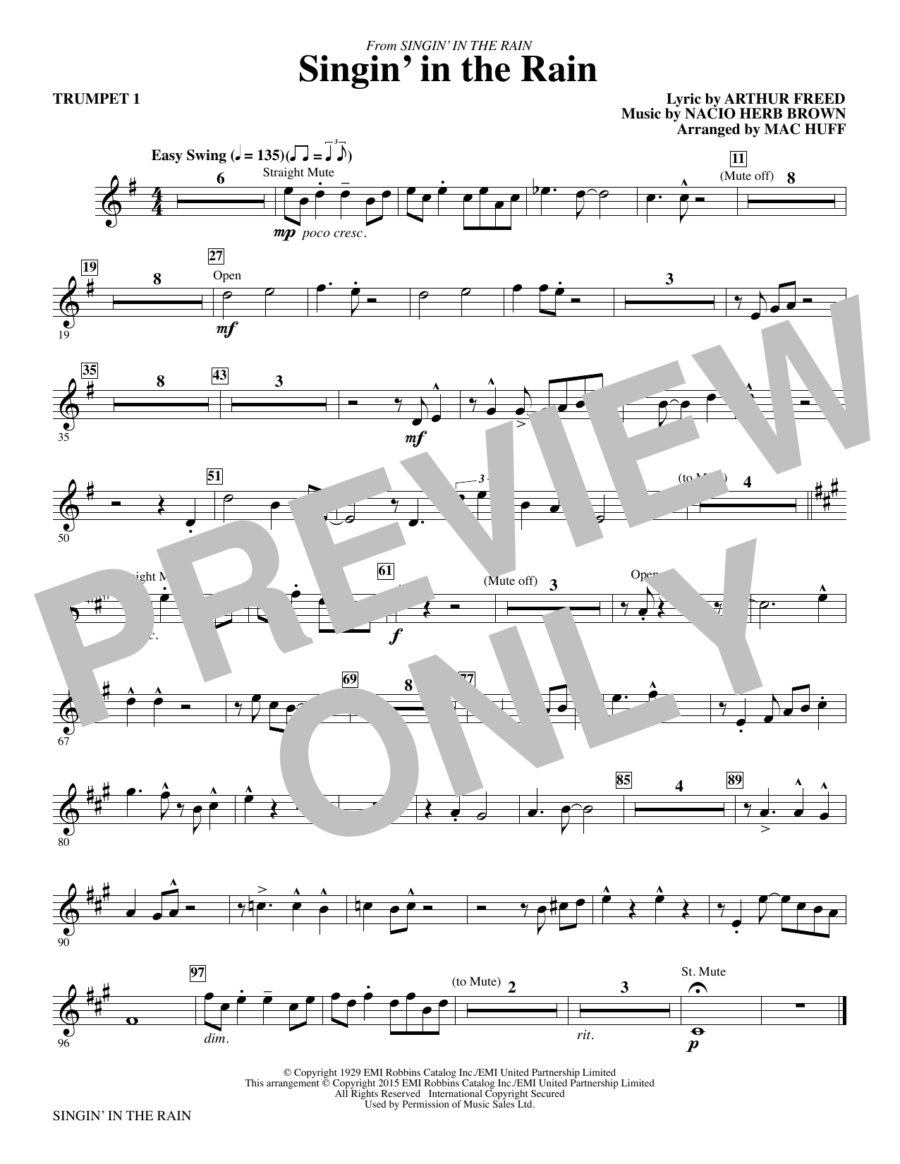 Singin' in the Rain (arr. Mac Huff) - Trumpet 1 (Choir Instrumental Pak)