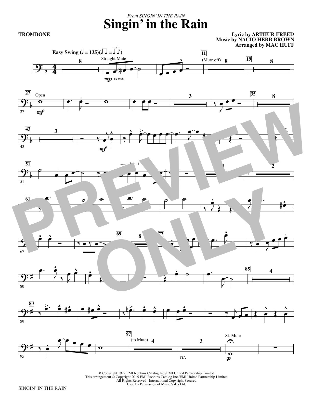 Singin' in the Rain (arr. Mac Huff) - Trombone (Choir Instrumental Pak)