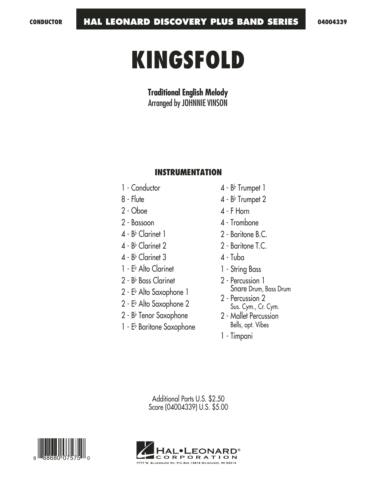 Kingsfold (COMPLETE) sheet music for concert band by Johnnie Vinson and Miscellaneous. Score Image Preview.