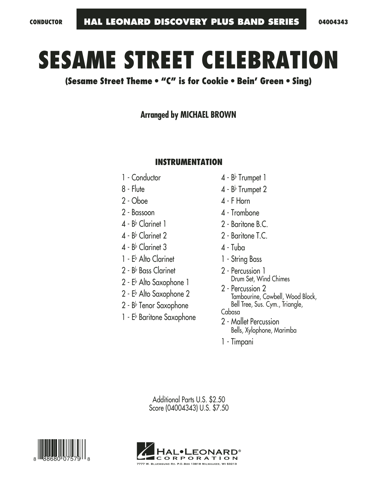 Sesame Street Celebration (COMPLETE) sheet music for concert band by Michael Brown. Score Image Preview.