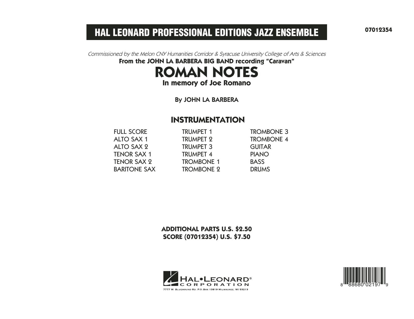Roman Notes - Conductor Score (Full Score) (Jazz Ensemble)