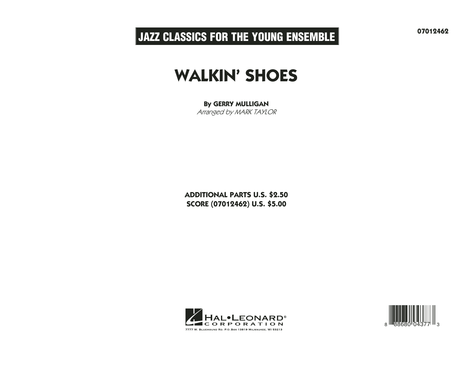 Walkin' Shoes (COMPLETE) sheet music for jazz band by Mark Taylor and Gerry Mulligan. Score Image Preview.