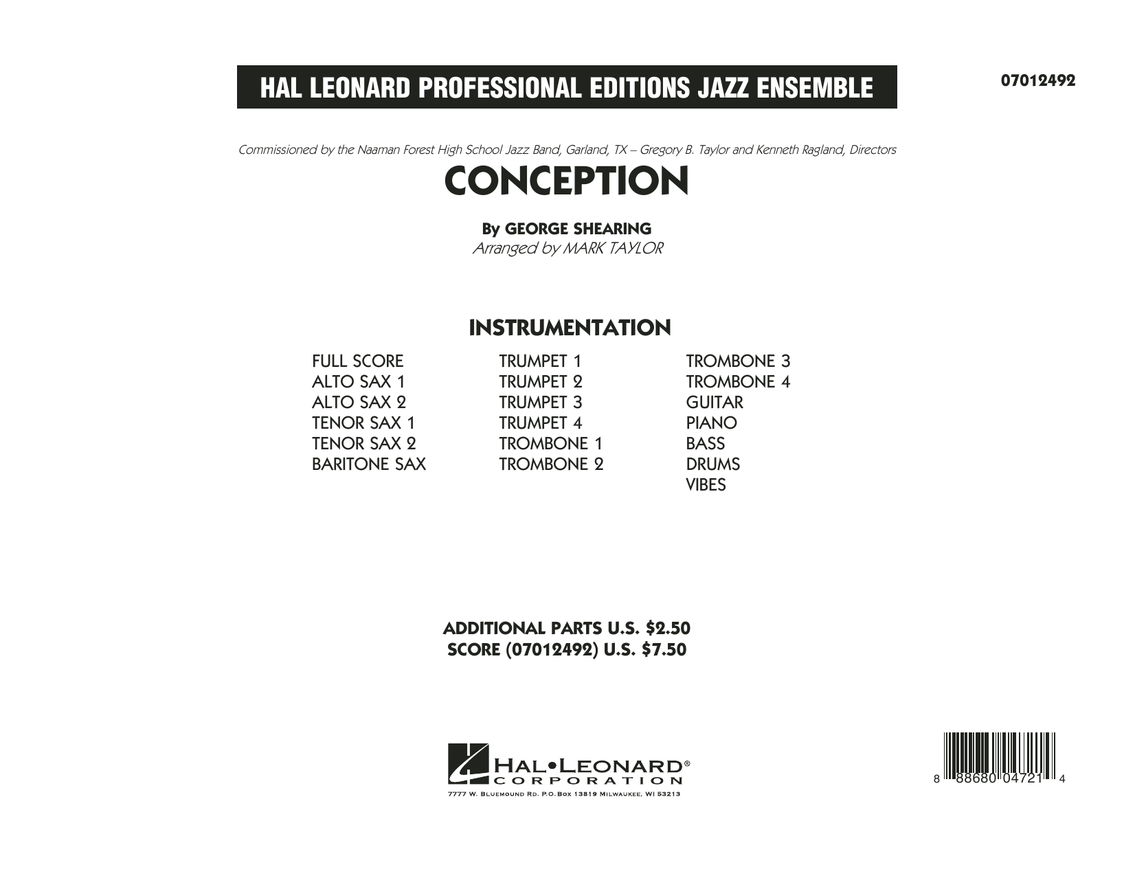 Conception (COMPLETE) sheet music for jazz band by Mark Taylor and George Shearing. Score Image Preview.
