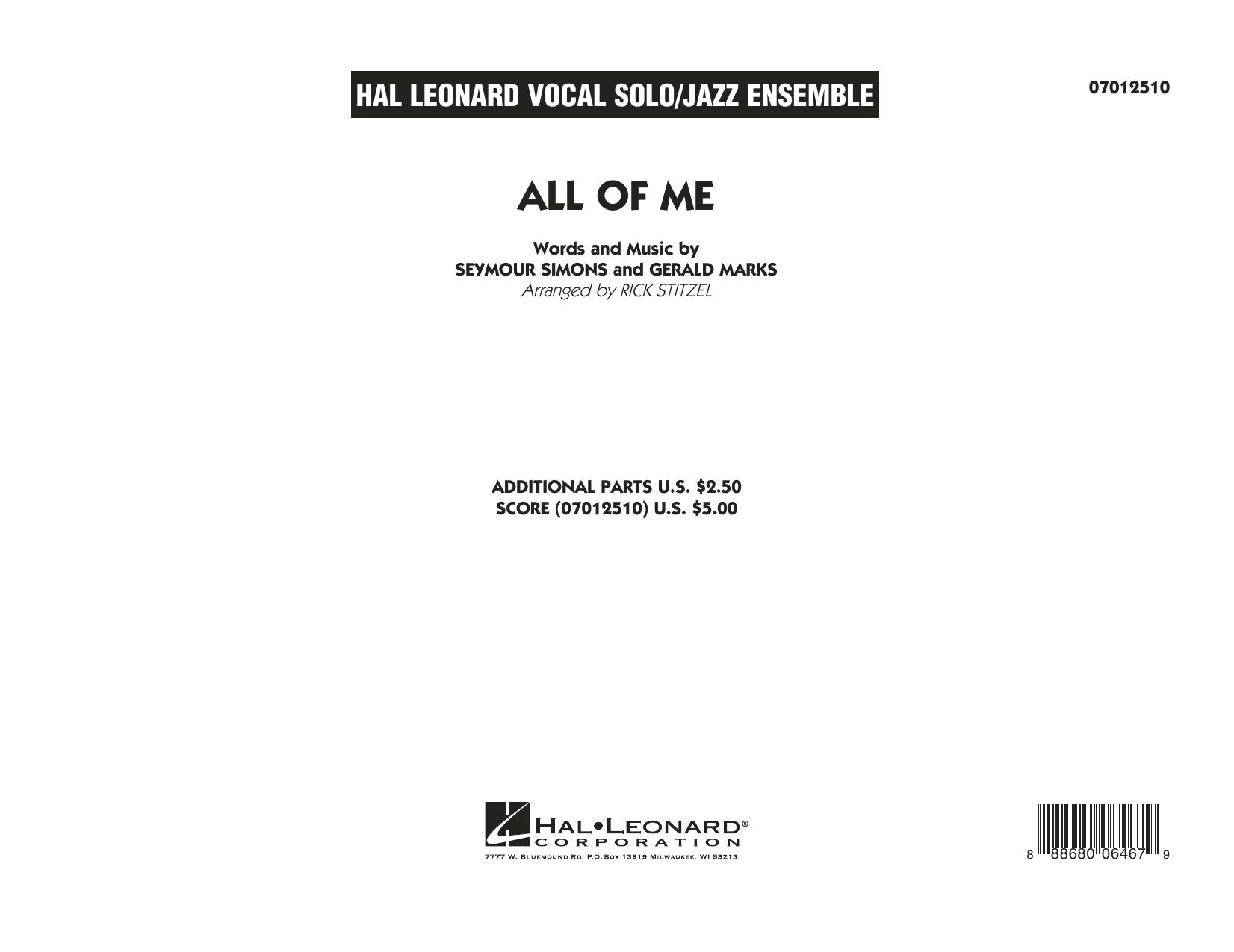 All of Me (Key: F) - Conductor Score (Full Score) (Jazz Ensemble)