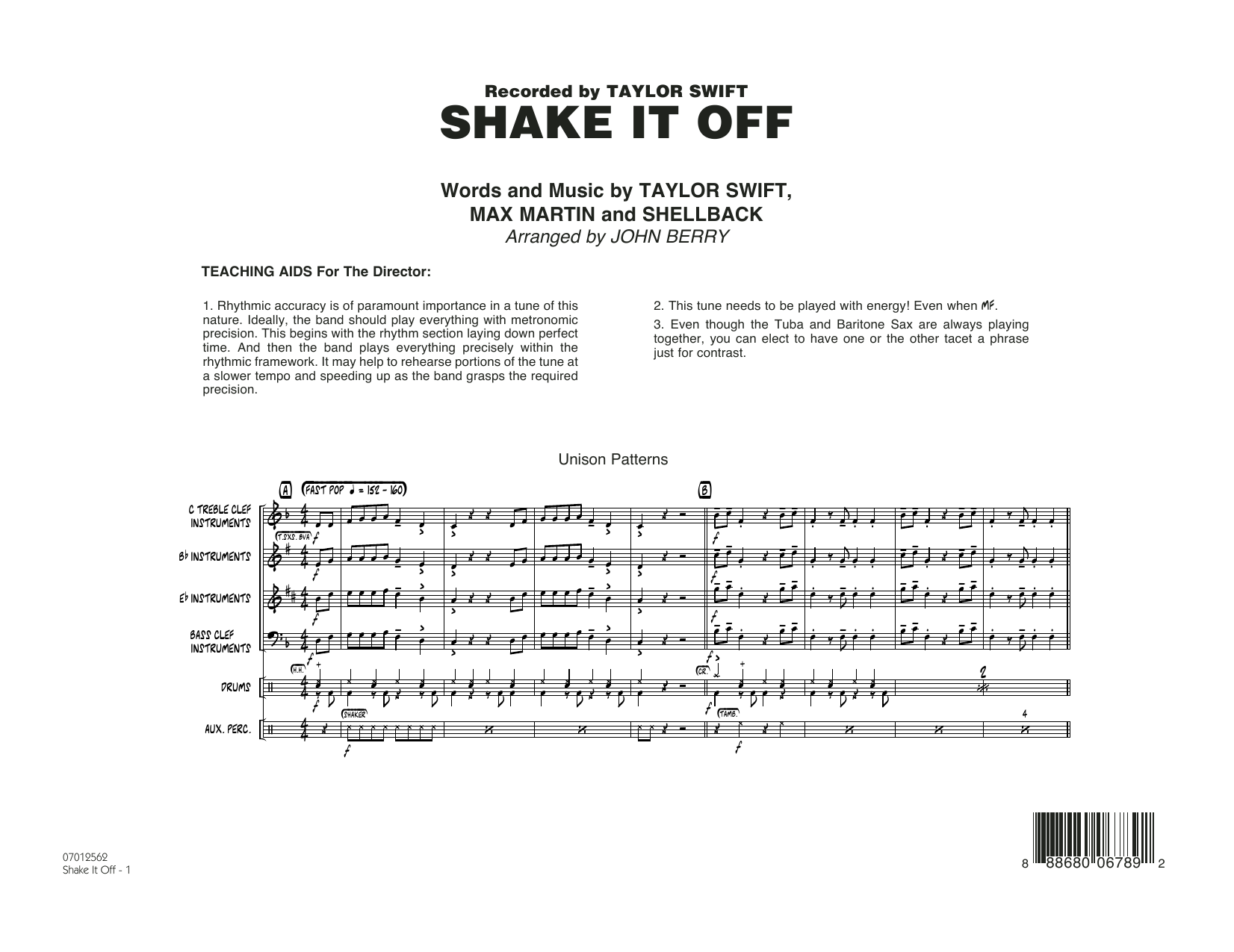Shake It Off (COMPLETE) sheet music for jazz band by John Berry, Johan Schuster, Max Martin, Shellback and Taylor Swift. Score Image Preview.