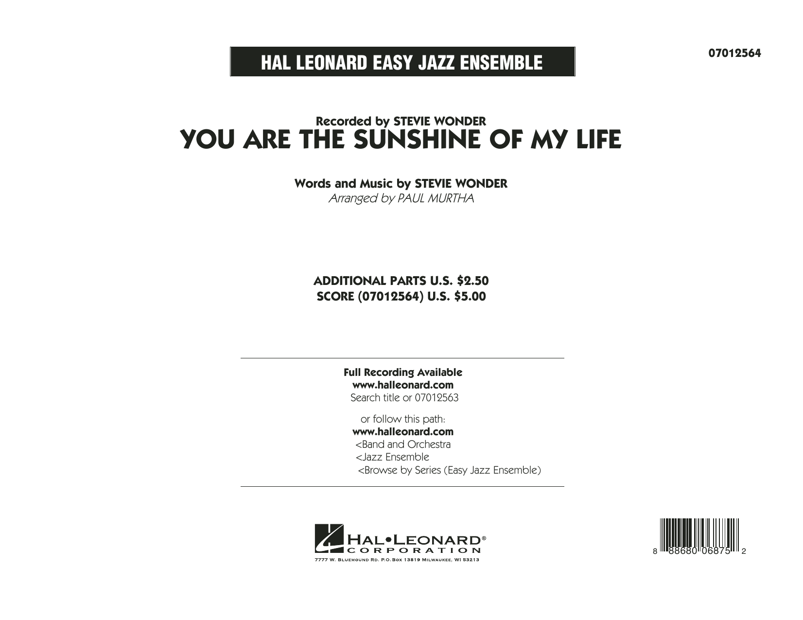You Are the Sunshine of My Life - Conductor Score (Full Score) (Jazz Ensemble)