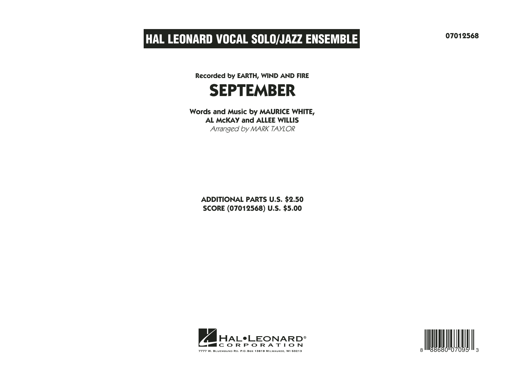 September (Key: C) - Conductor Score (Full Score) (Jazz Ensemble)