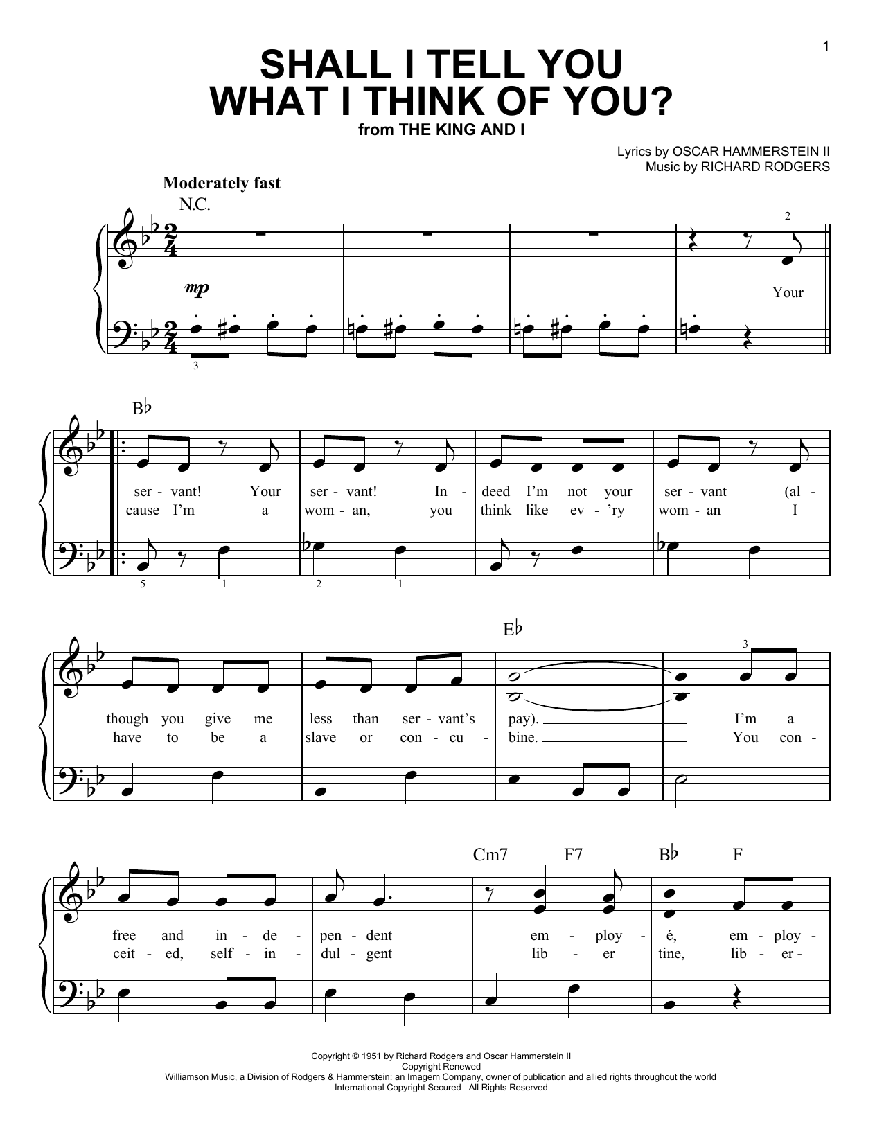 Partition piano Shall I Tell You What I Think Of You? de Rodgers & Hammerstein - Piano Facile