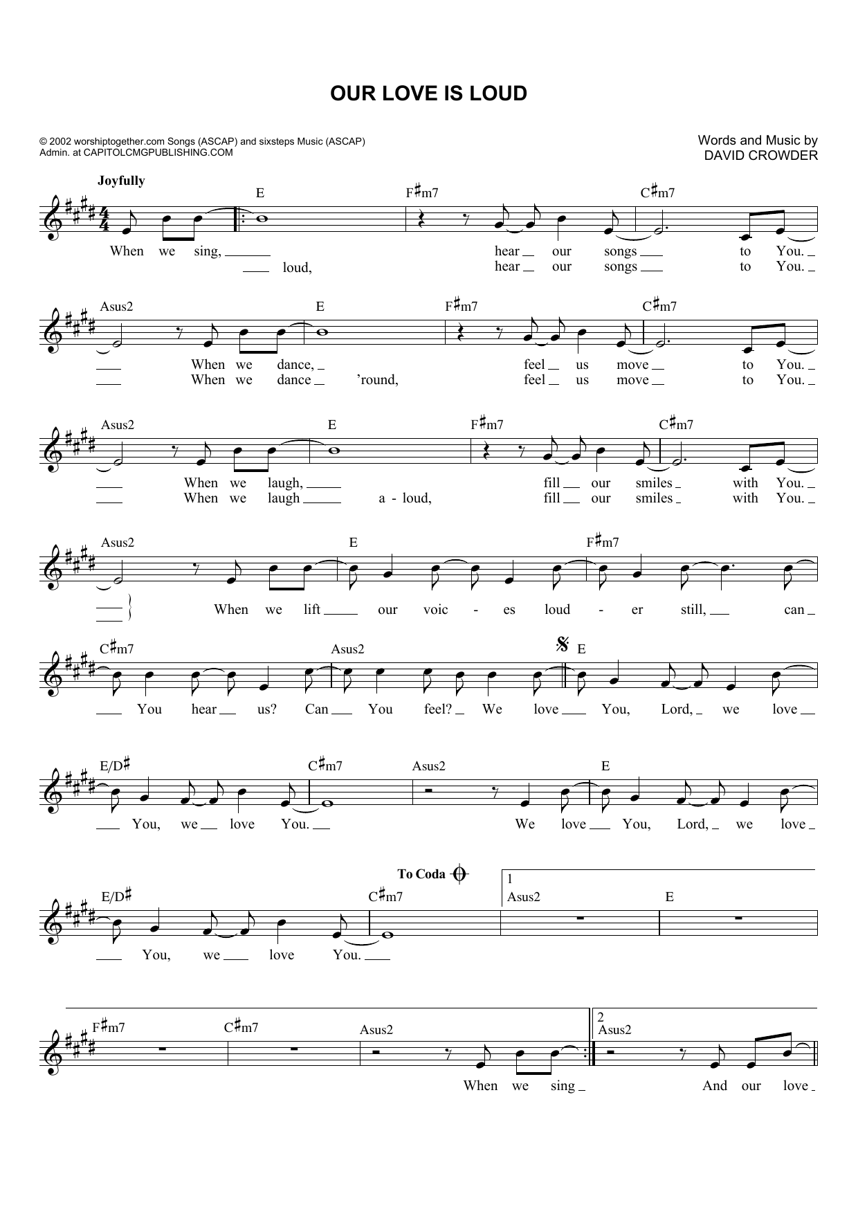 Our Love Is Loud (Lead Sheet / Fake Book)