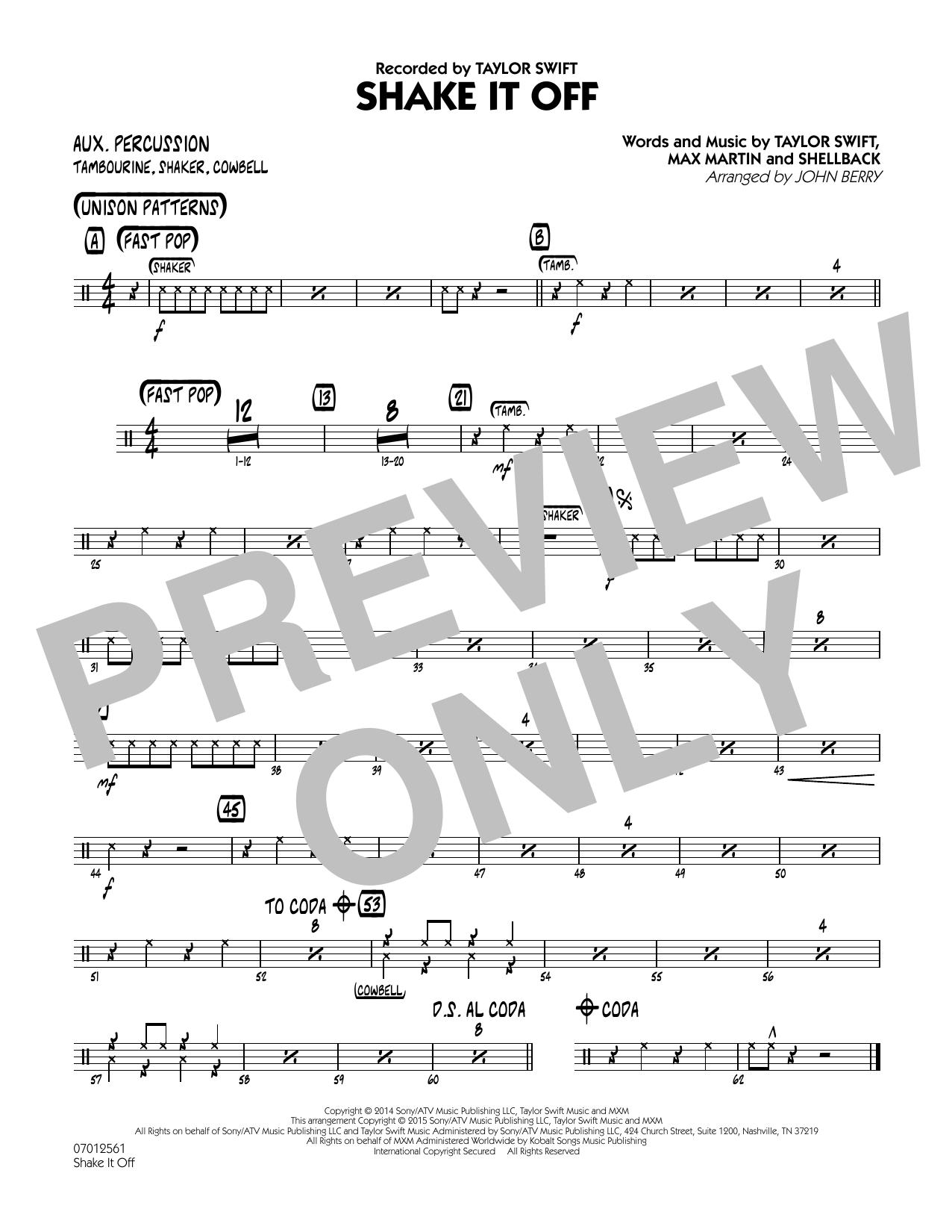 Shake It Off - Aux Percussion (Jazz Ensemble)