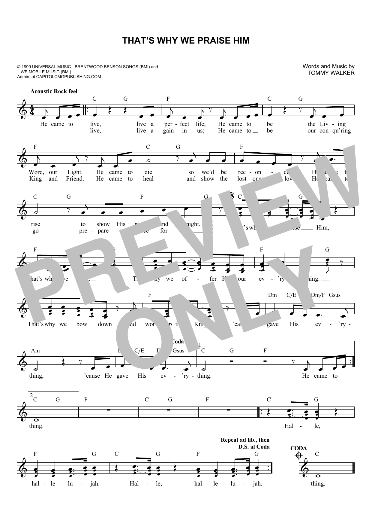 That's Why We Praise Him (Lead Sheet / Fake Book)