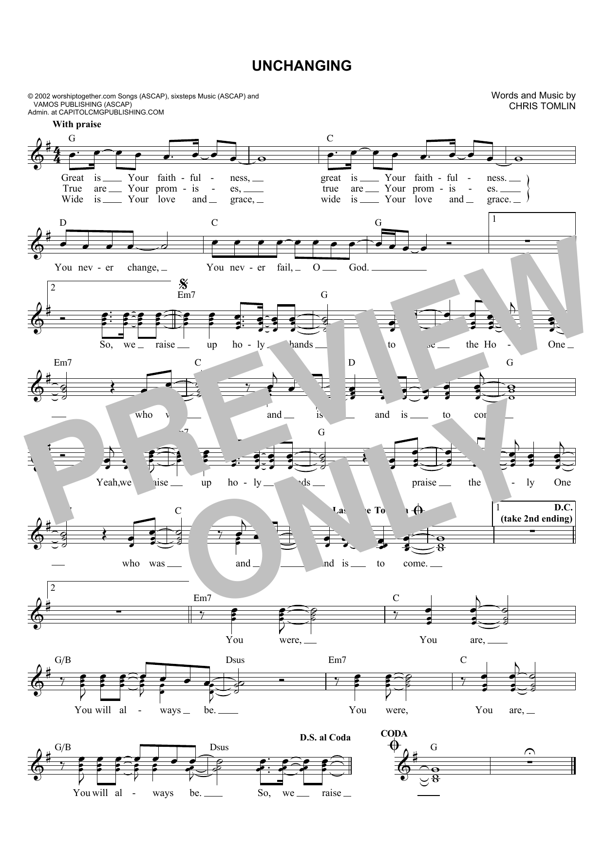 Unchanging (Lead Sheet / Fake Book)