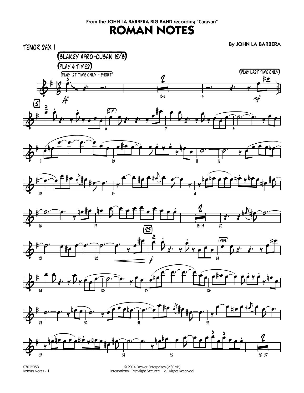 Roman Notes - Tenor Sax 1 (Jazz Ensemble)