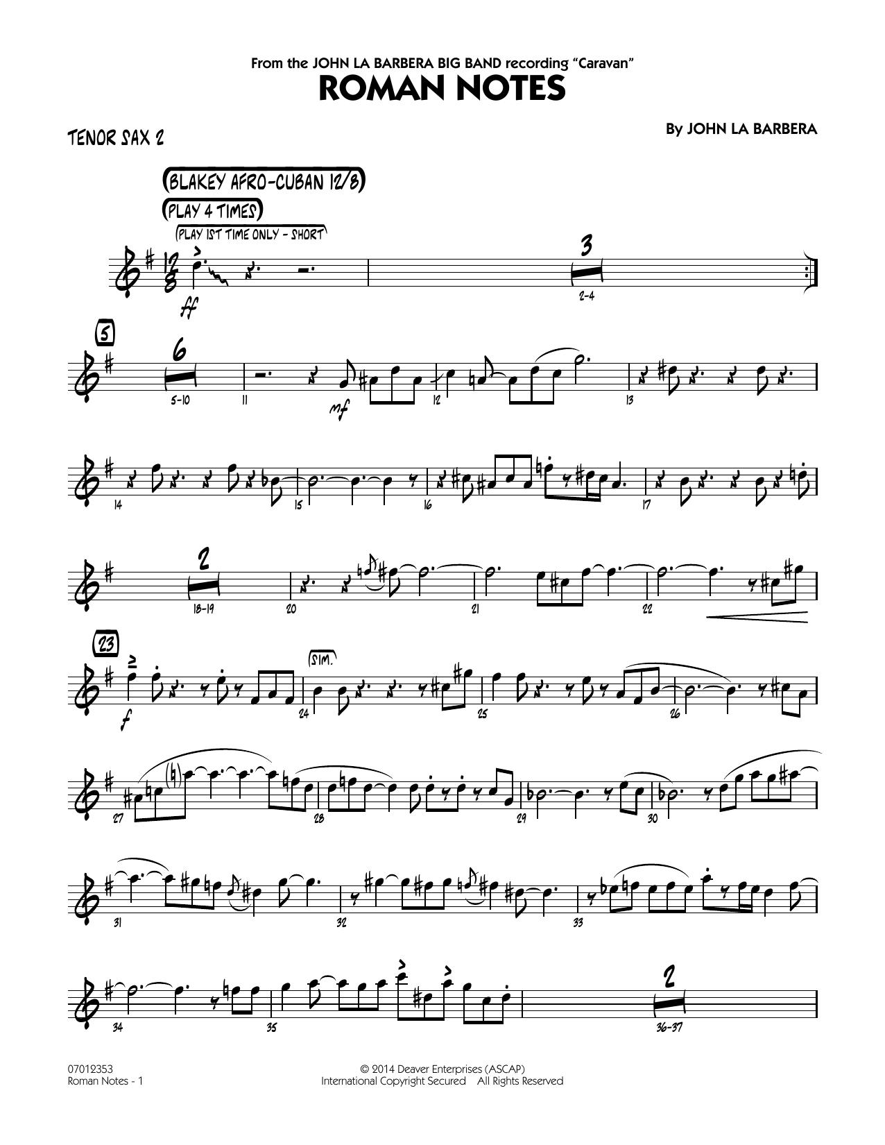 Roman Notes - Tenor Sax 2 (Jazz Ensemble)