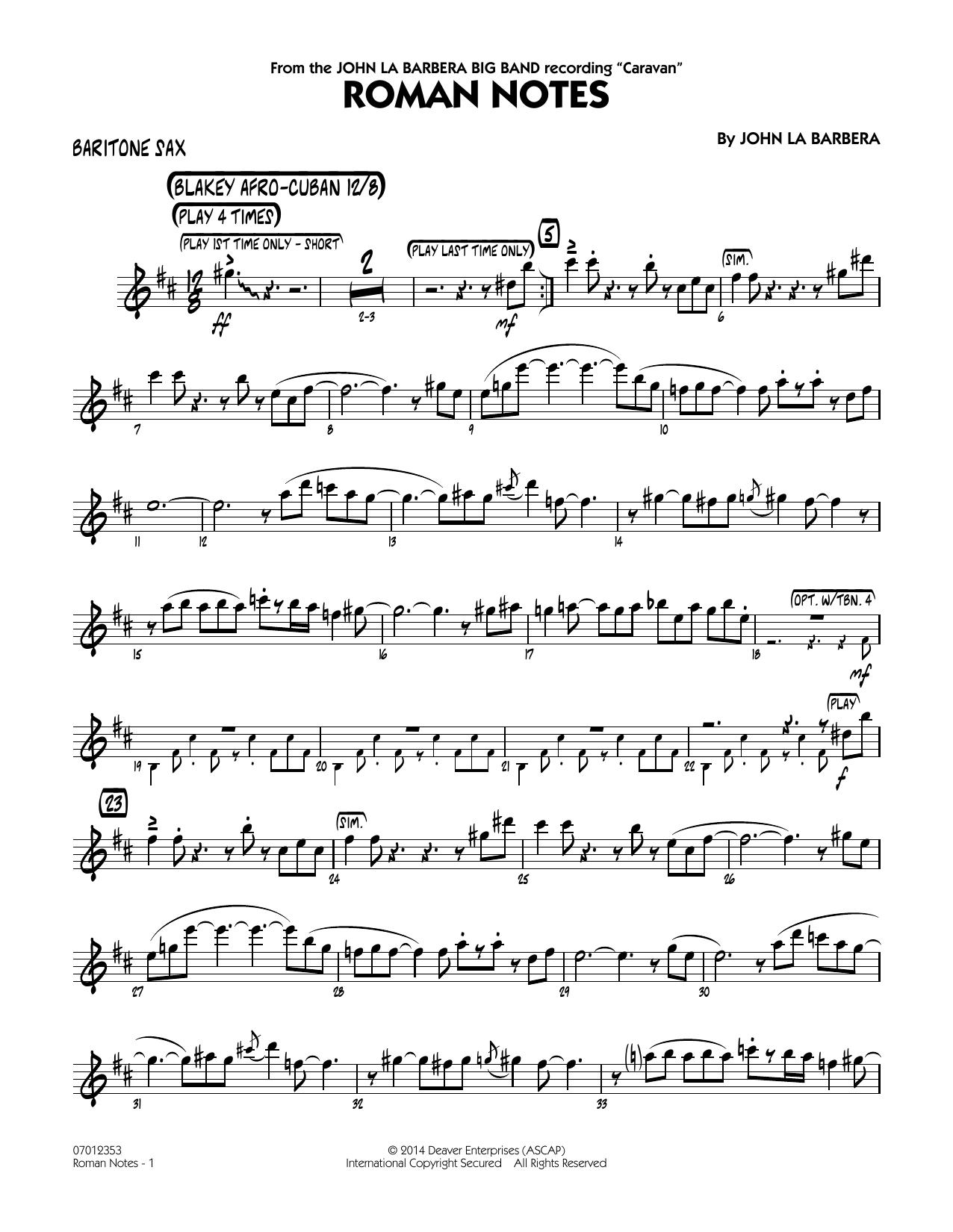 Roman Notes - Baritone Sax (Jazz Ensemble)