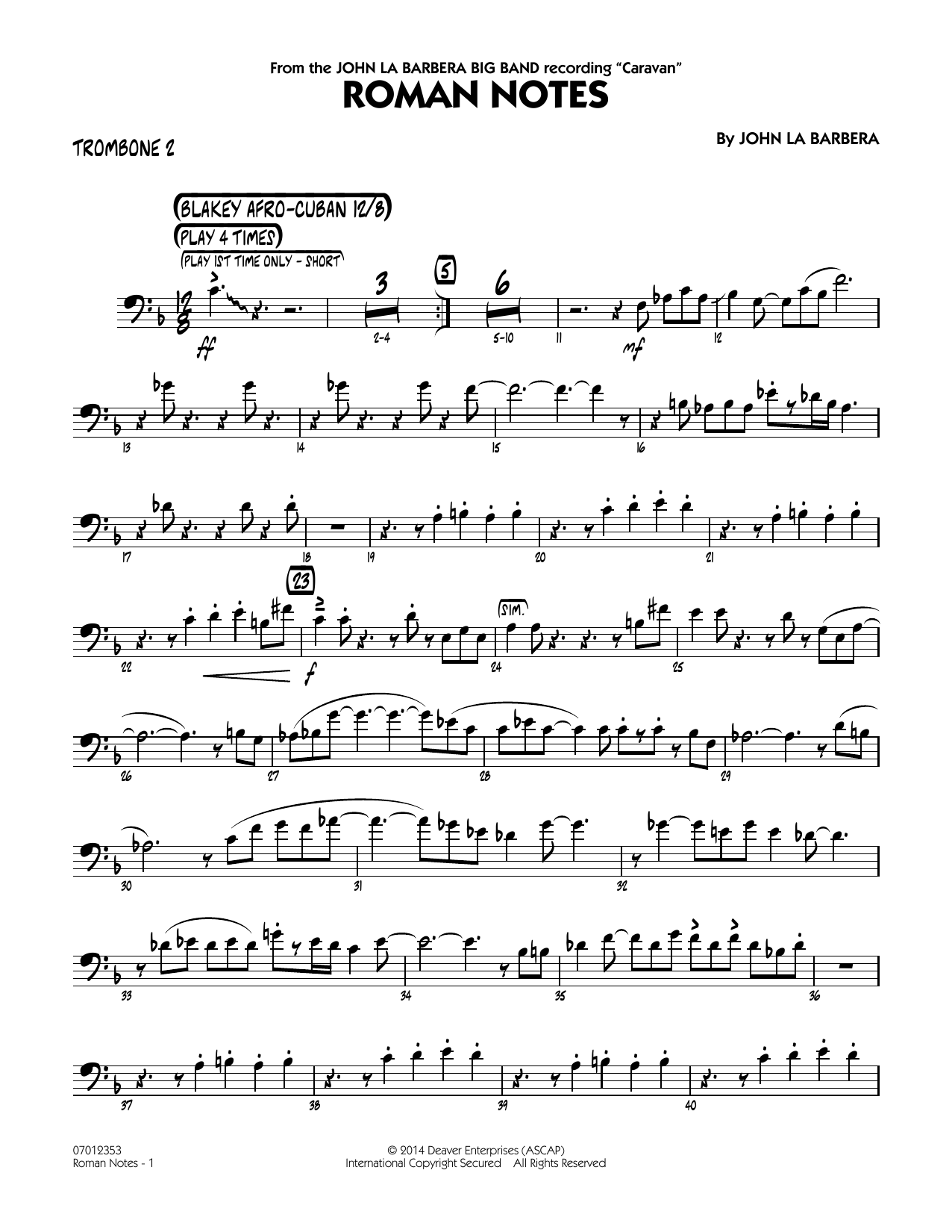 Roman Notes - Trombone 2 (Jazz Ensemble)