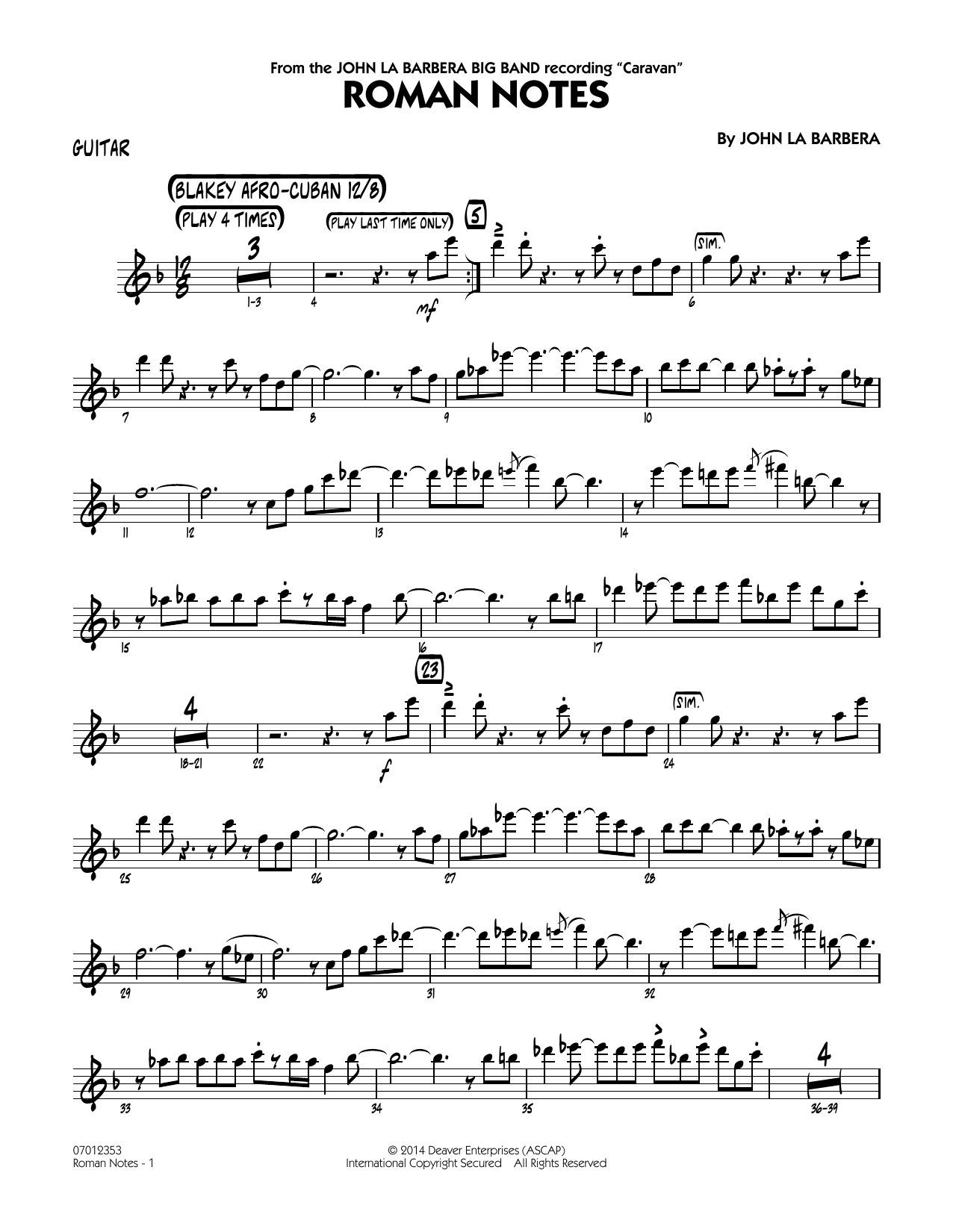 Roman Notes - Guitar (Jazz Ensemble)