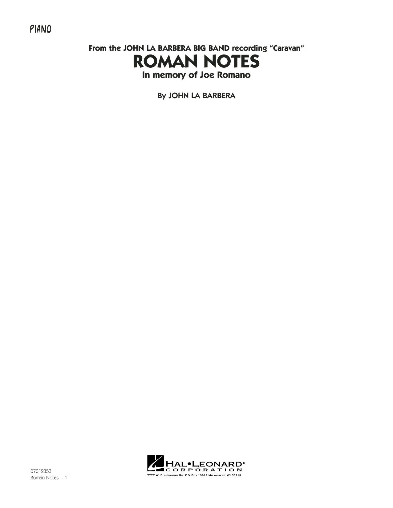 Roman Notes - Piano (Jazz Ensemble)