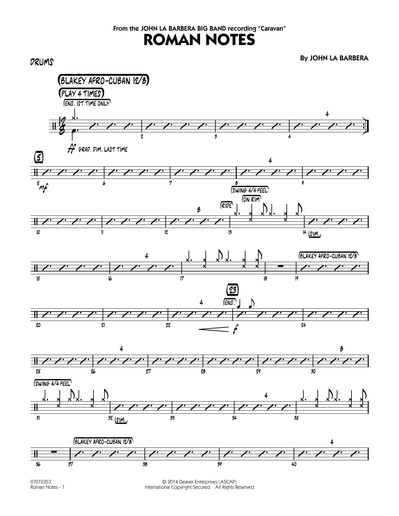 Roman Notes - Drums (Jazz Ensemble)