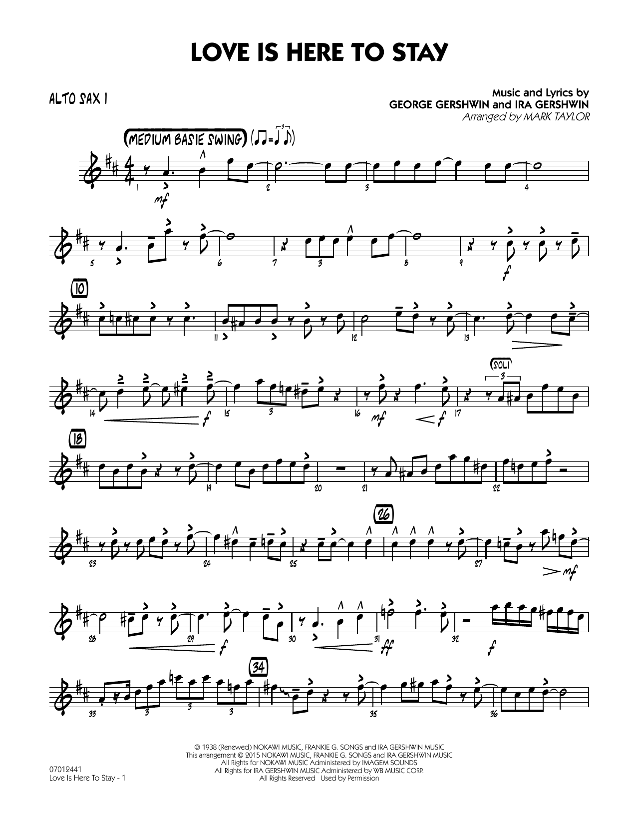 Love Is Here to Stay - Alto Sax 1 (Jazz Ensemble)