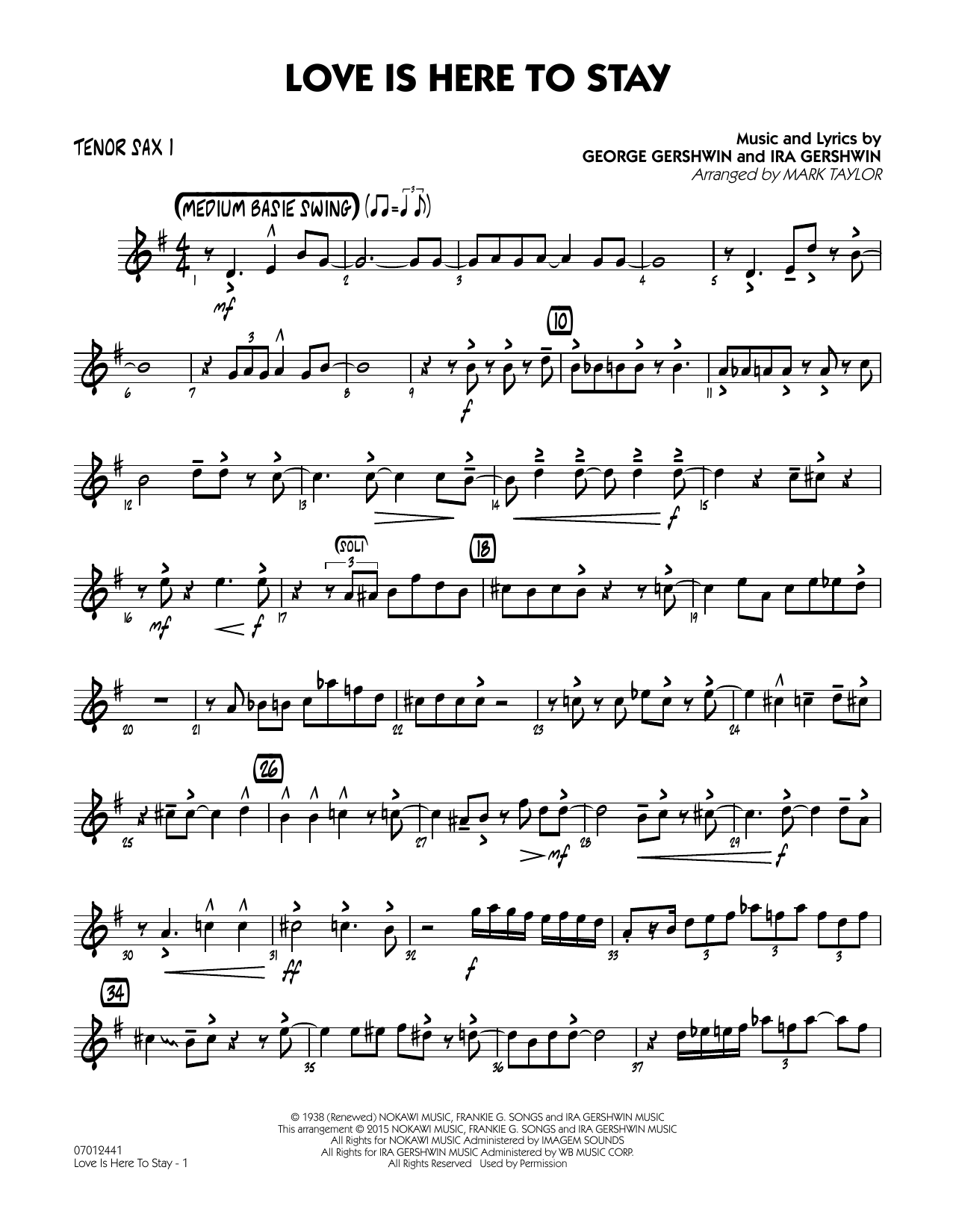 Love Is Here to Stay - Tenor Sax 1 (Jazz Ensemble)