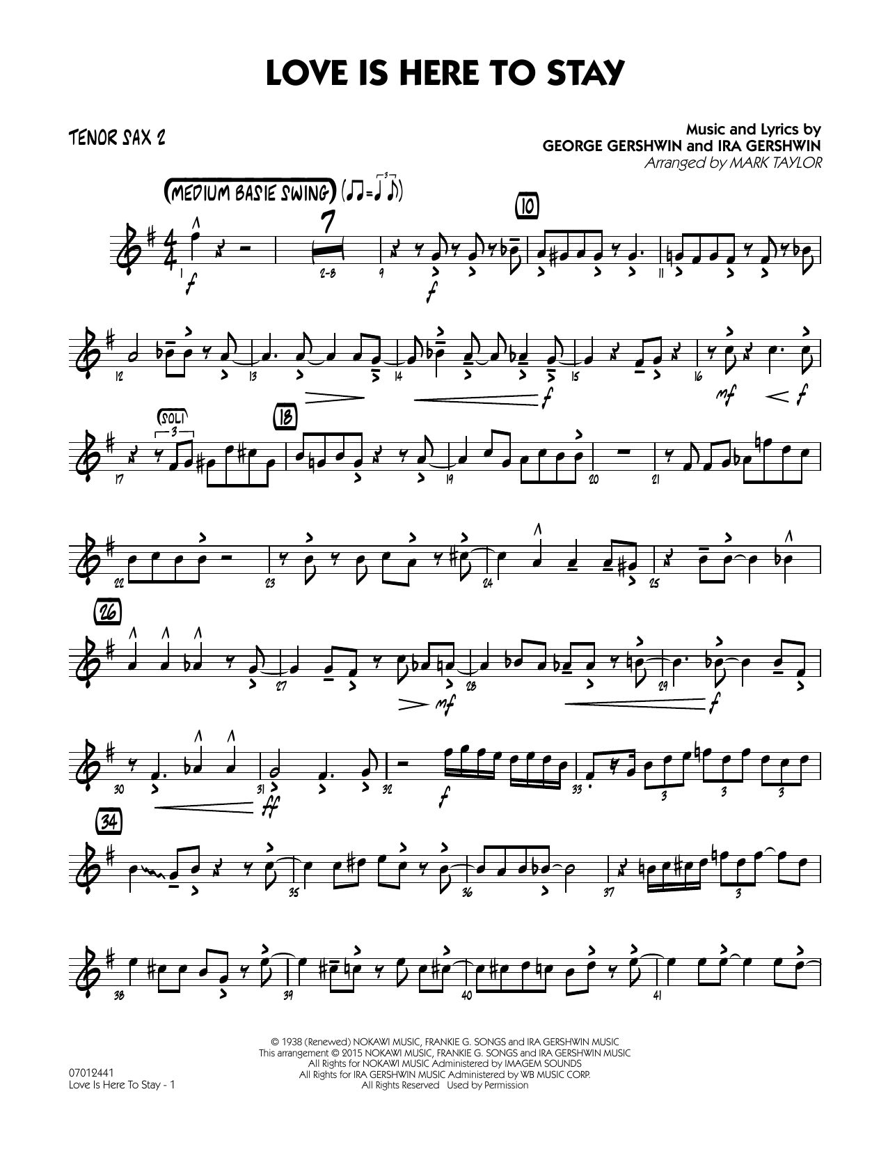 Love Is Here to Stay - Tenor Sax 2 (Jazz Ensemble)