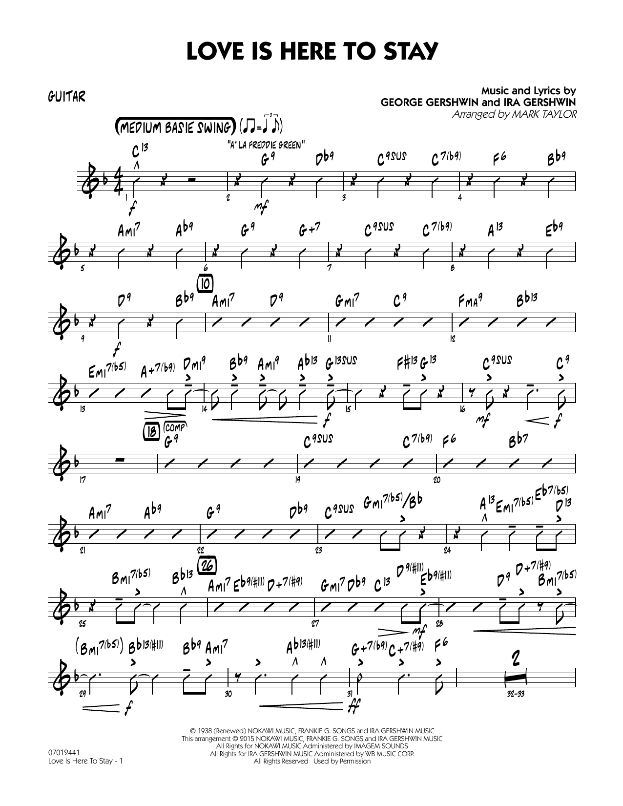 Love Is Here to Stay - Guitar (Jazz Ensemble)