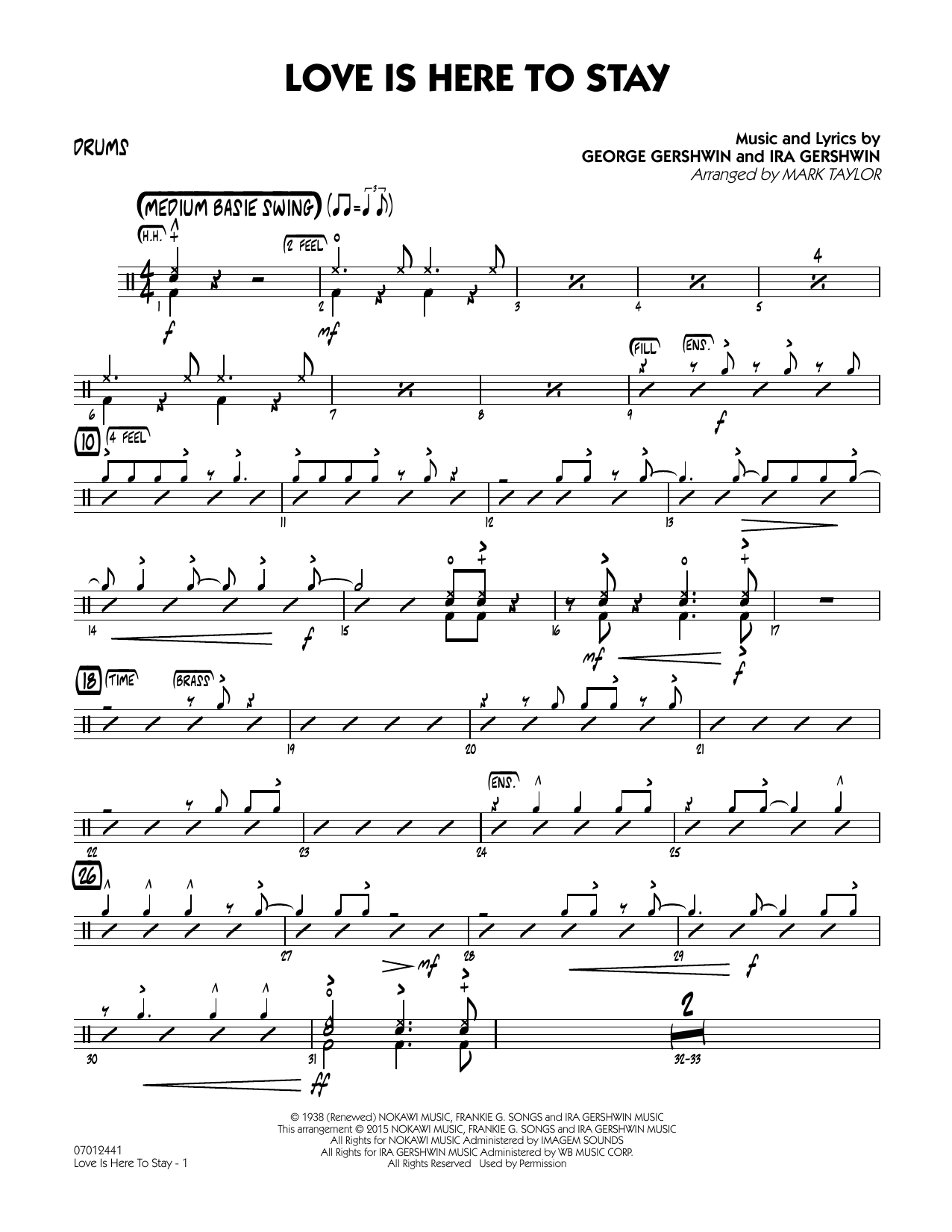 Love Is Here to Stay - Drums (Jazz Ensemble)