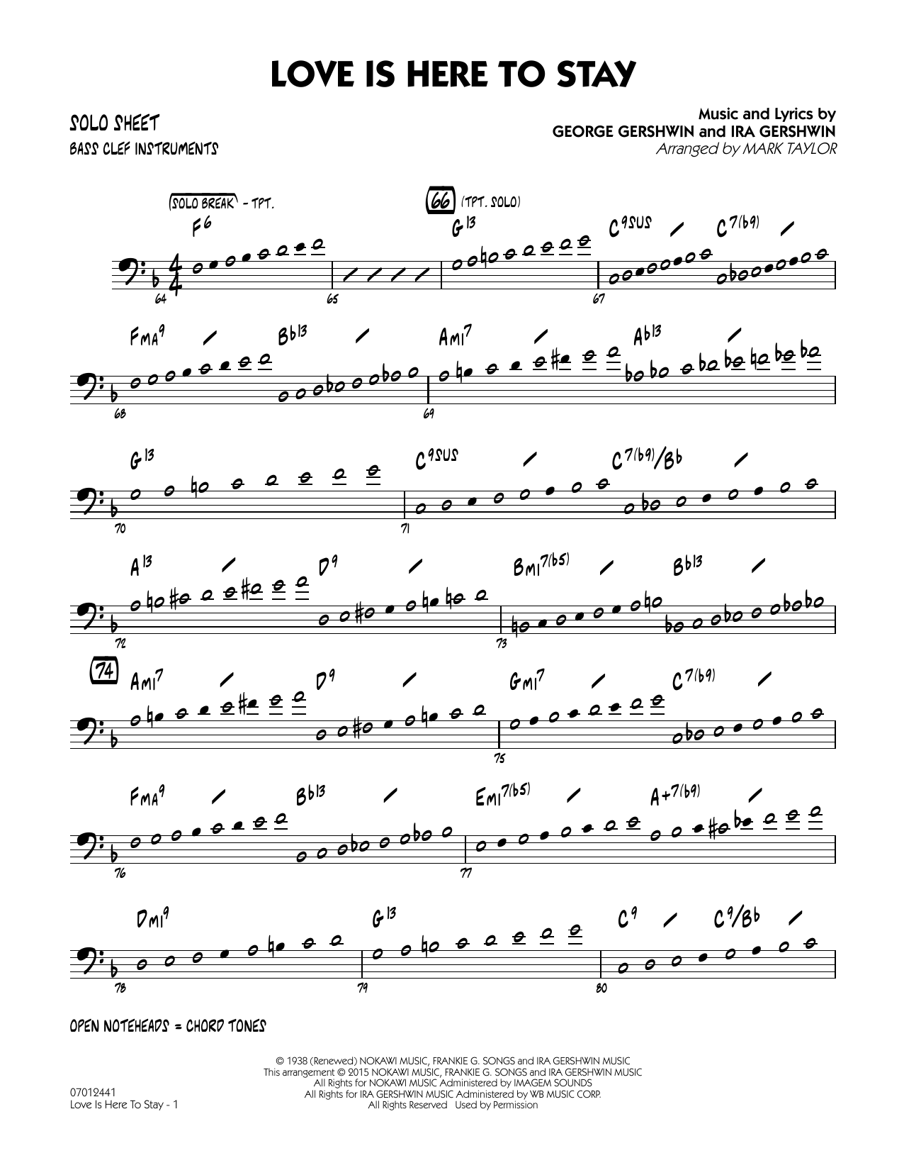 Love Is Here to Stay - Bass Clef Solo Sheet (Jazz Ensemble)