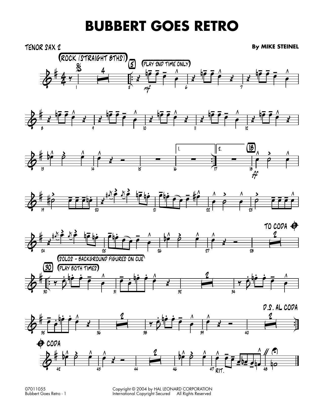 Bubbert Goes Retro - Tenor Sax 2 (Jazz Ensemble)