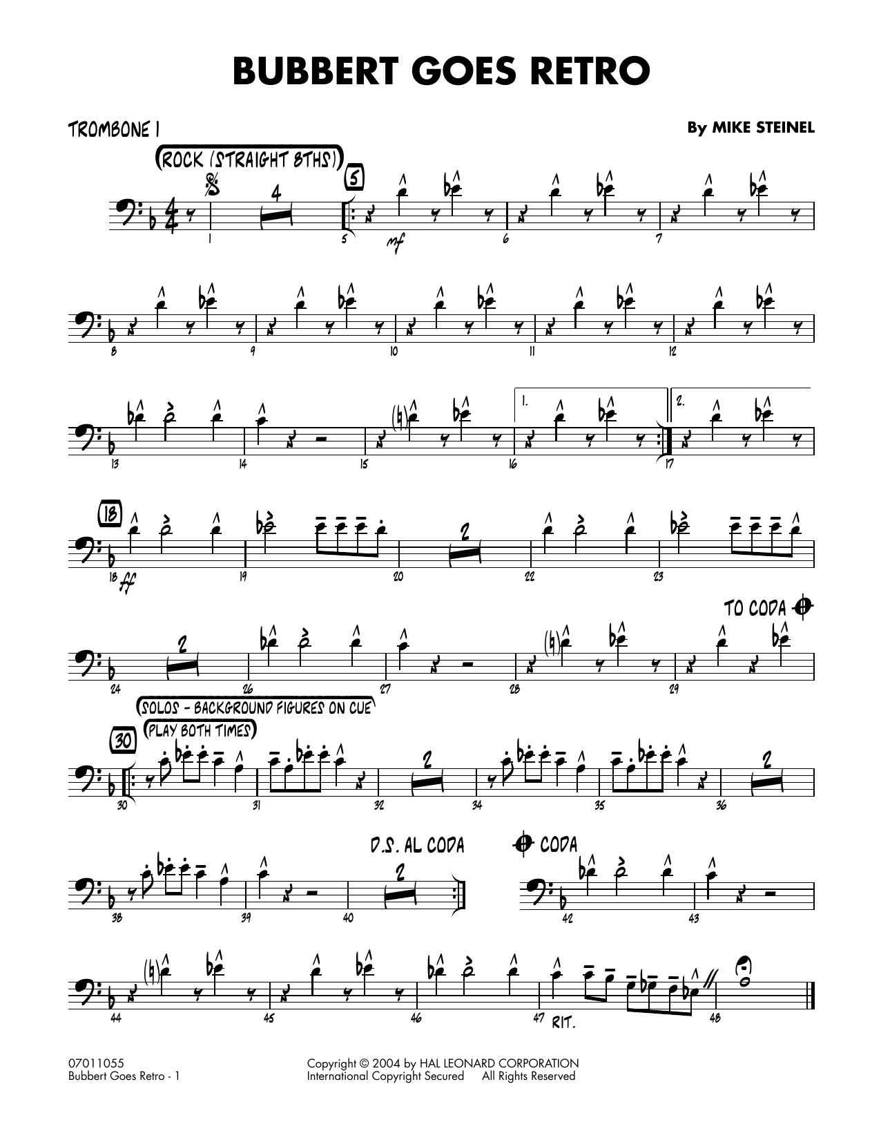 Bubbert Goes Retro - Trombone 1 (Jazz Ensemble)