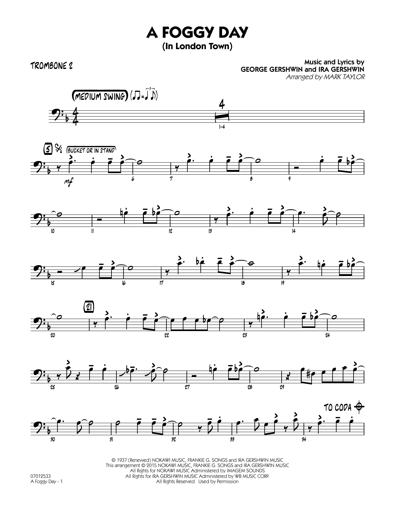 A Foggy Day (In London Town) - Trombone 2 (Jazz Ensemble)