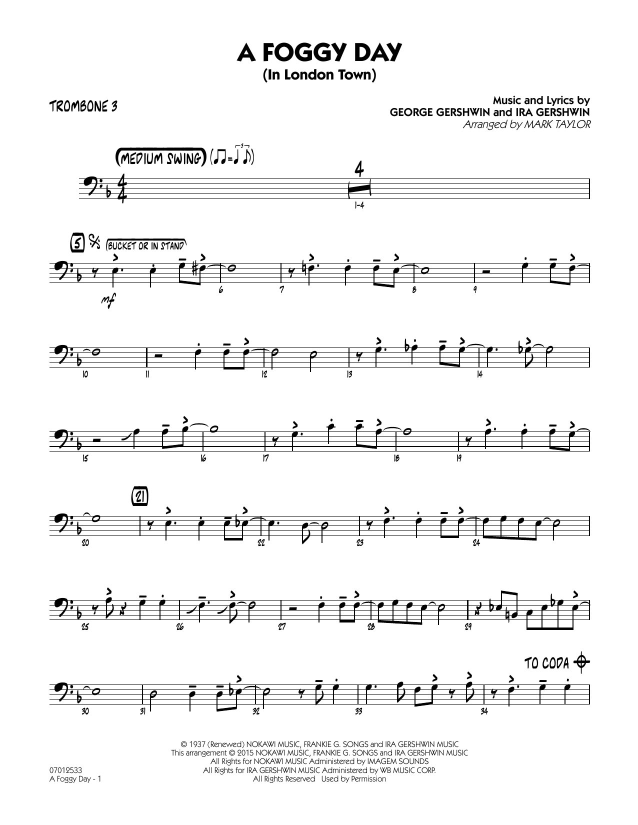 A Foggy Day (In London Town) - Trombone 3 (Jazz Ensemble)