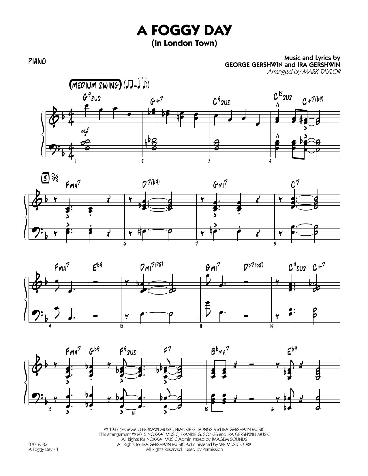 A Foggy Day (In London Town) - Piano (Jazz Ensemble)