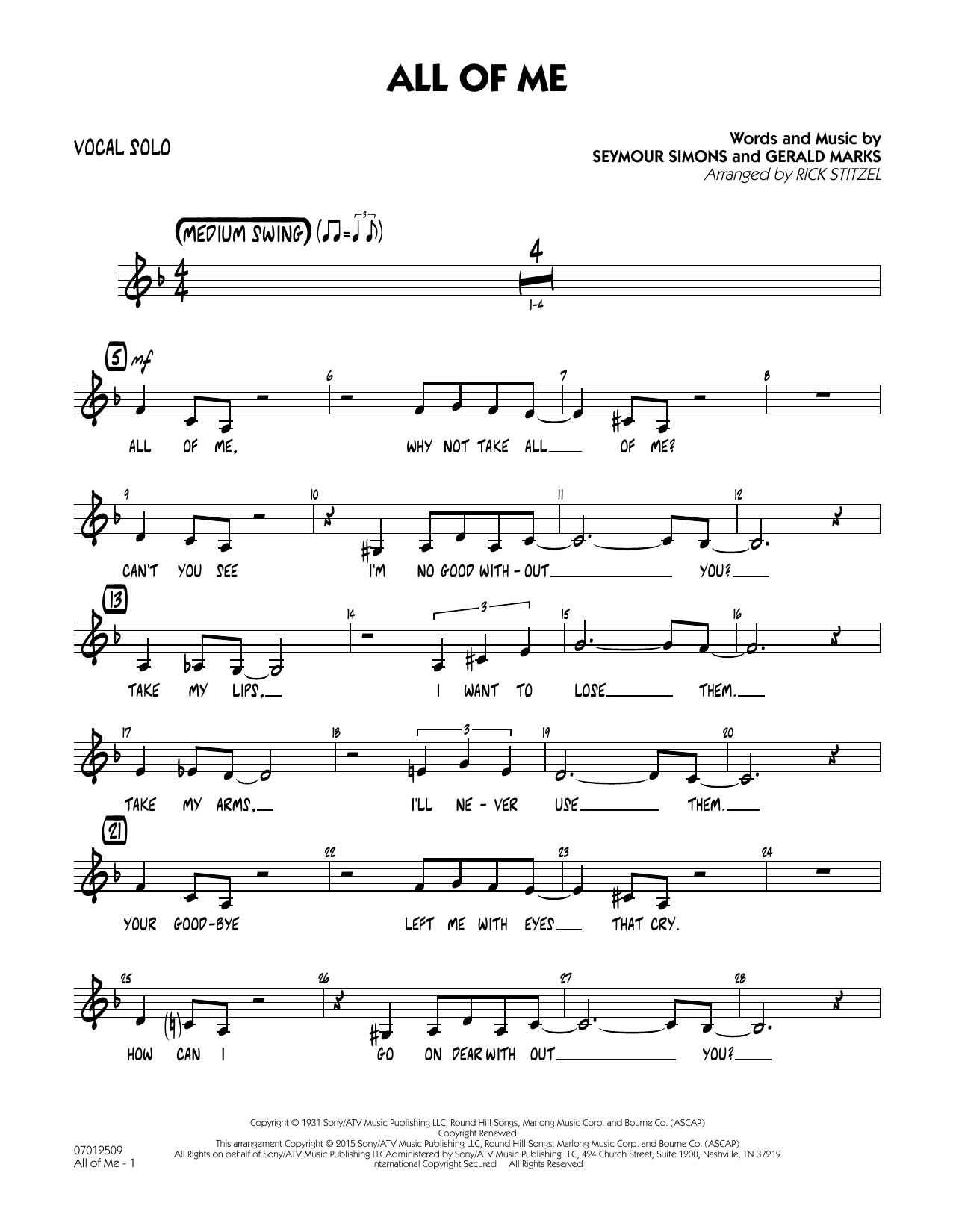 All of Me (Key: F) - Vocal Solo (Jazz Ensemble)