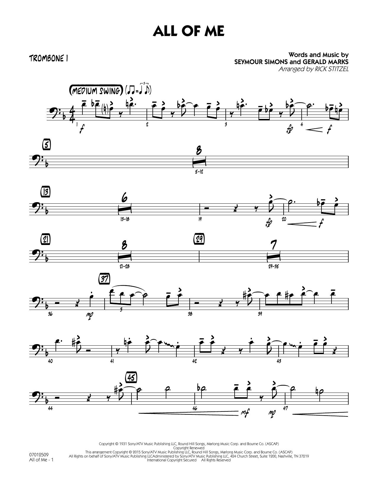 All of Me (Key: F) - Trombone 1 (Jazz Ensemble)