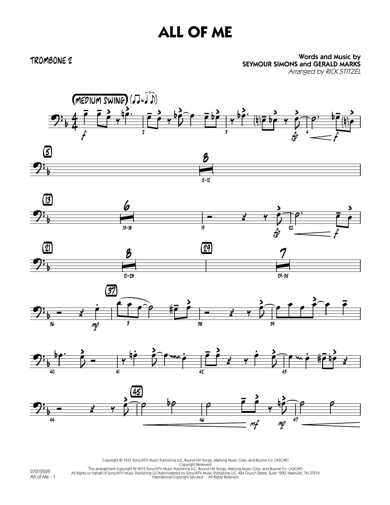 All of Me (Key: F) - Trombone 2 (Jazz Ensemble)